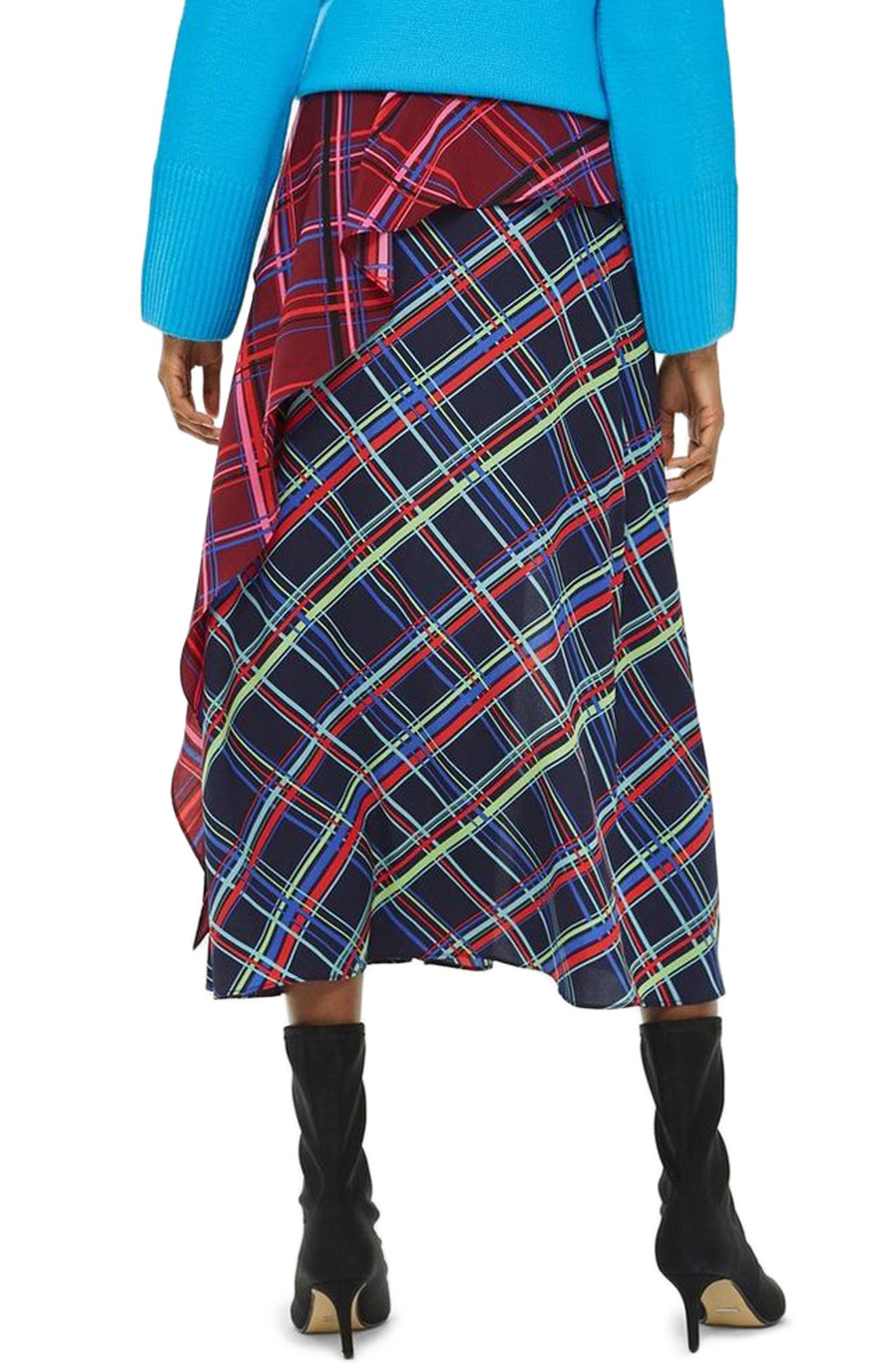 Clan Clash Check Midi Skirt,                             Alternate thumbnail 2, color,                             NAVY BLUE
