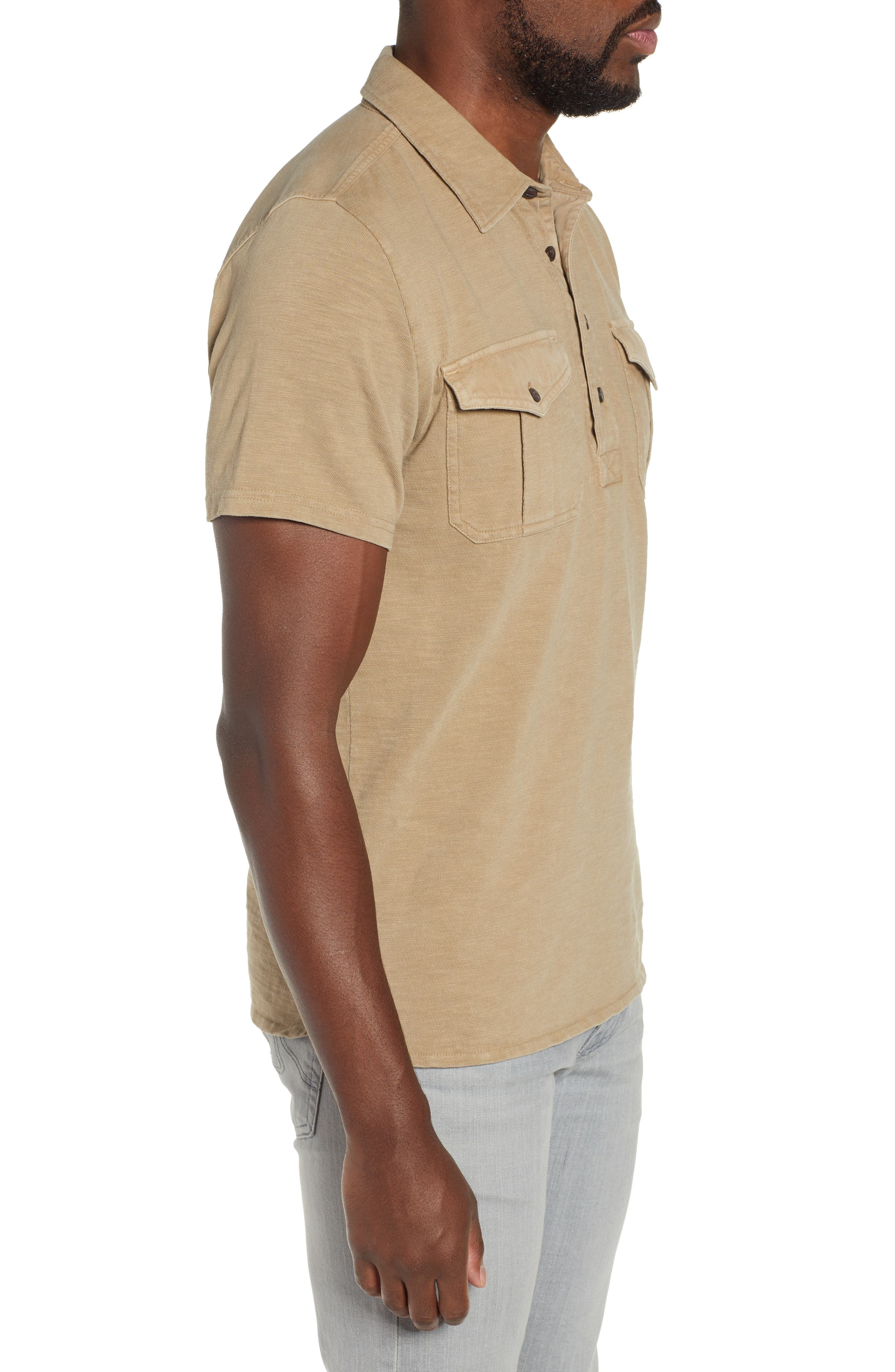 Two-Pocket Military Polo,                             Alternate thumbnail 3, color,                             BEIGE