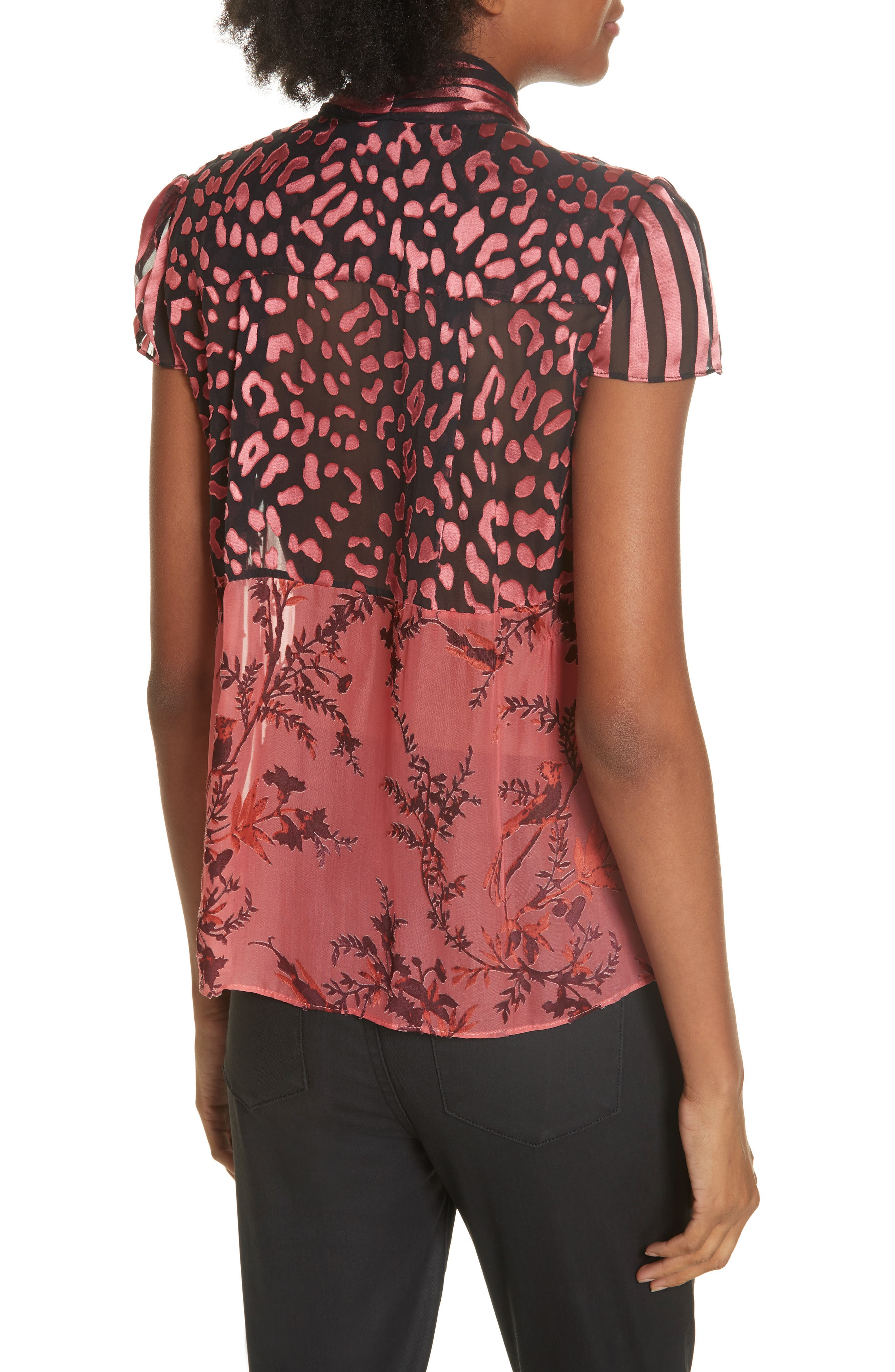 Jeannie Bow Neck Blouse,                             Alternate thumbnail 2, color,                             TWO TONE BIRD/ ROSE
