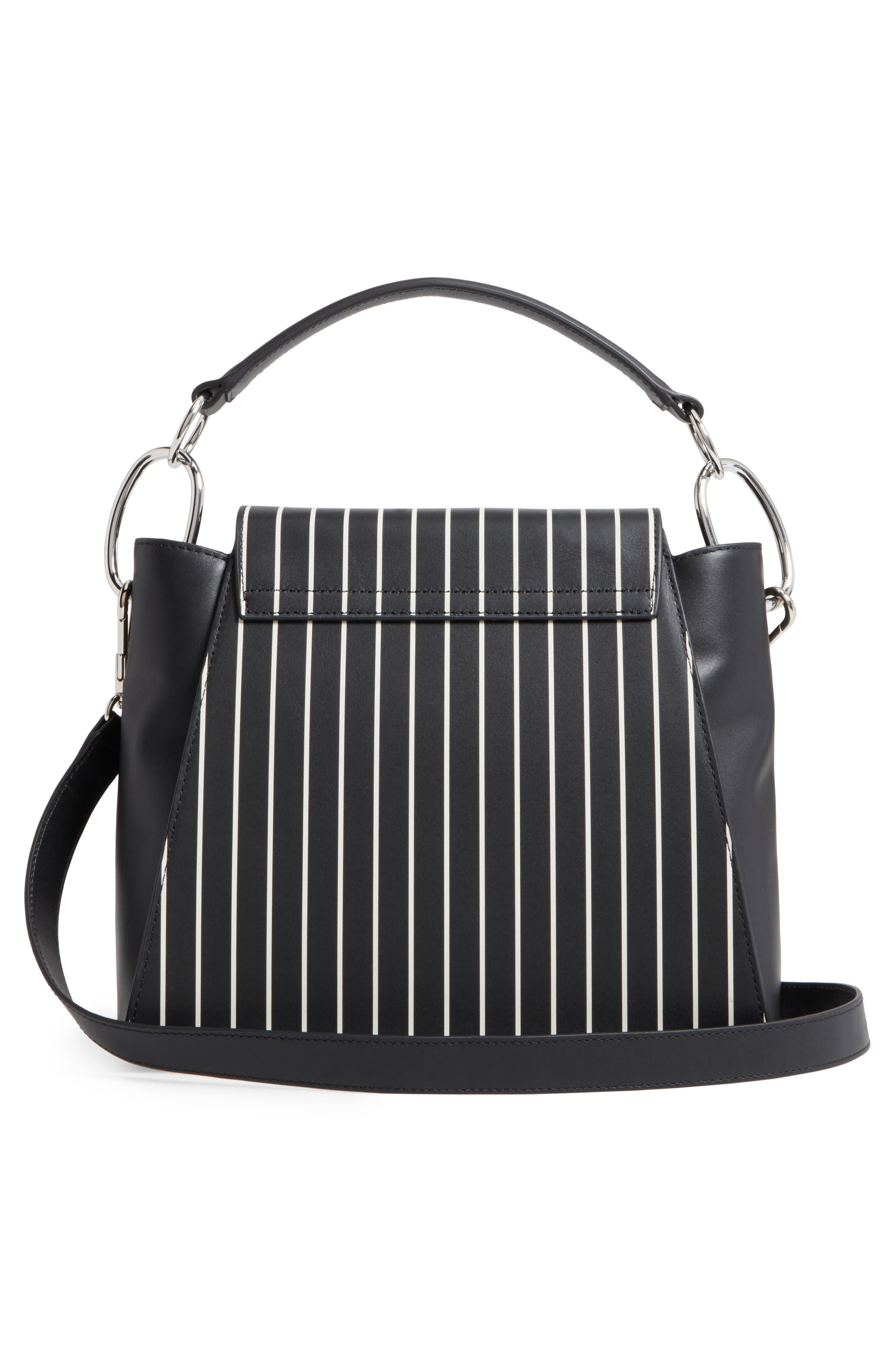 Leigh Stripe Top Handle Leather Satchel,                             Alternate thumbnail 3, color,