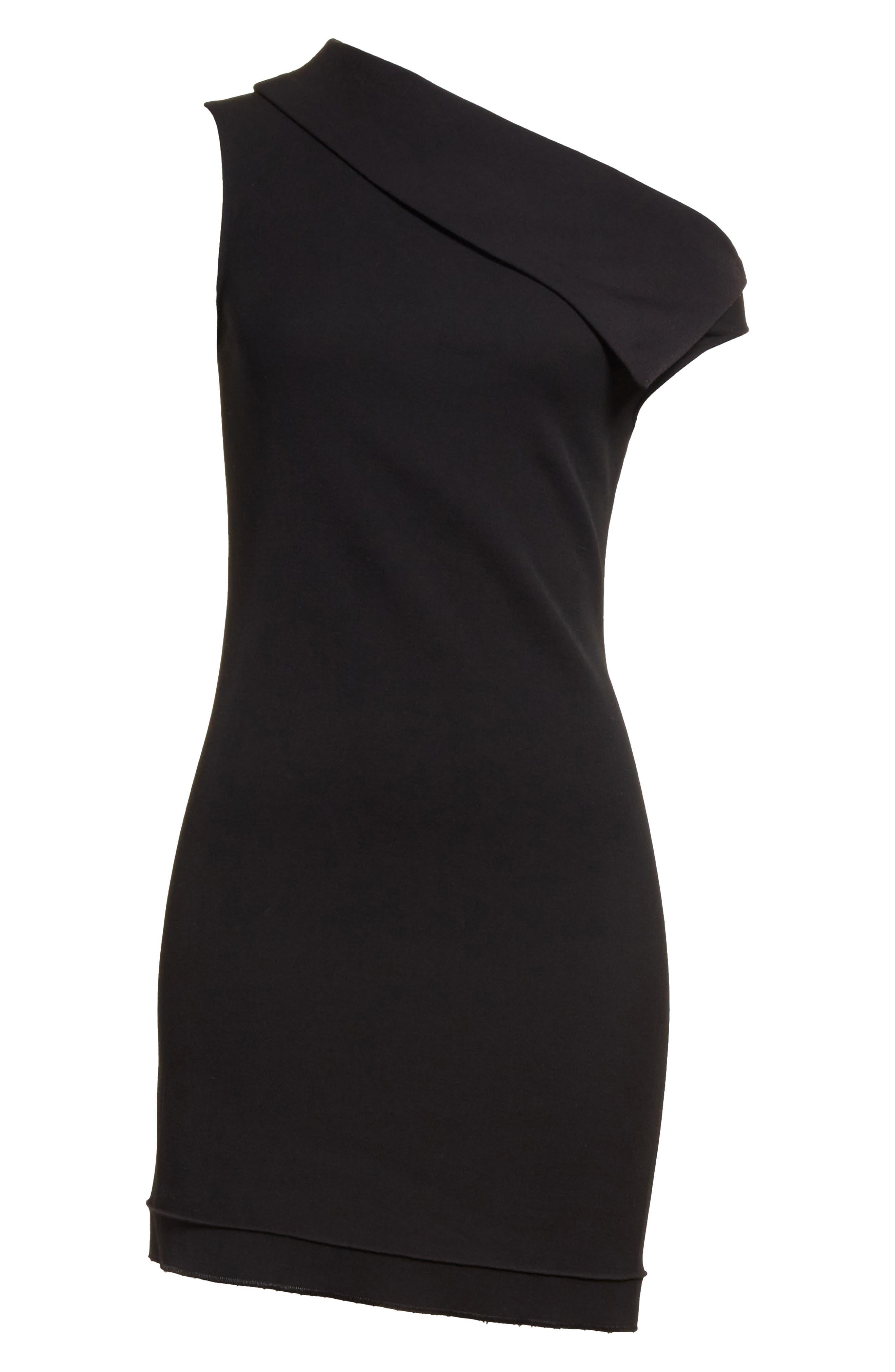 Asymmetric Wool Blend Scuba Minidress,                             Alternate thumbnail 6, color,