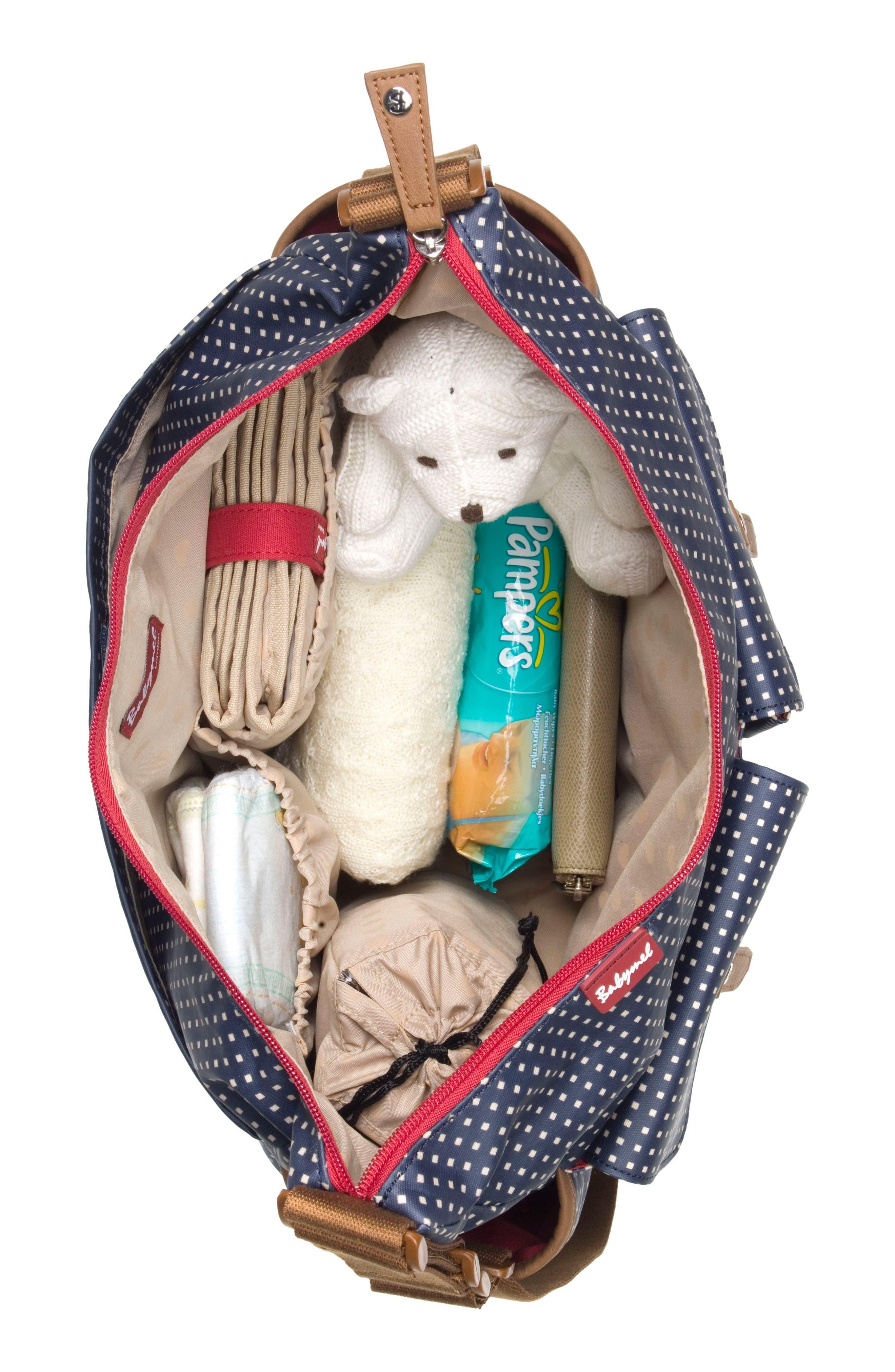 'Frankie' Diaper Bag,                             Alternate thumbnail 4, color,                             PIXEL DOT BLACK