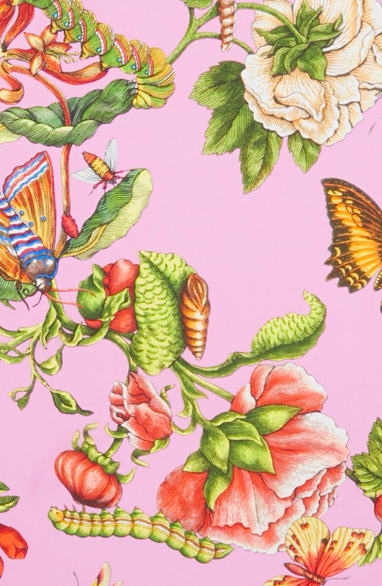 Foulard Chane Bouquet Silk Scarf,                             Alternate thumbnail 4, color,                             PINK