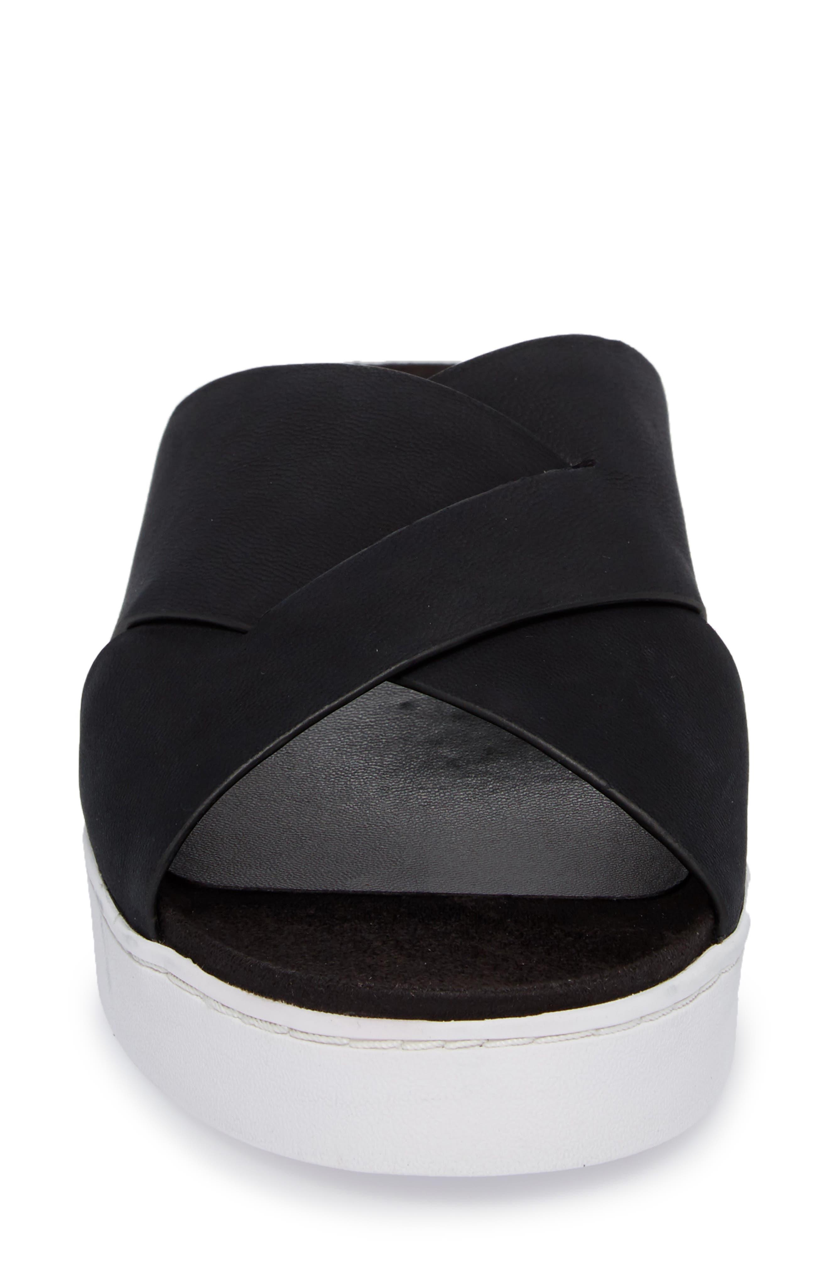 Lou Slide Sandal,                             Alternate thumbnail 4, color,                             BLACK NUBUCK