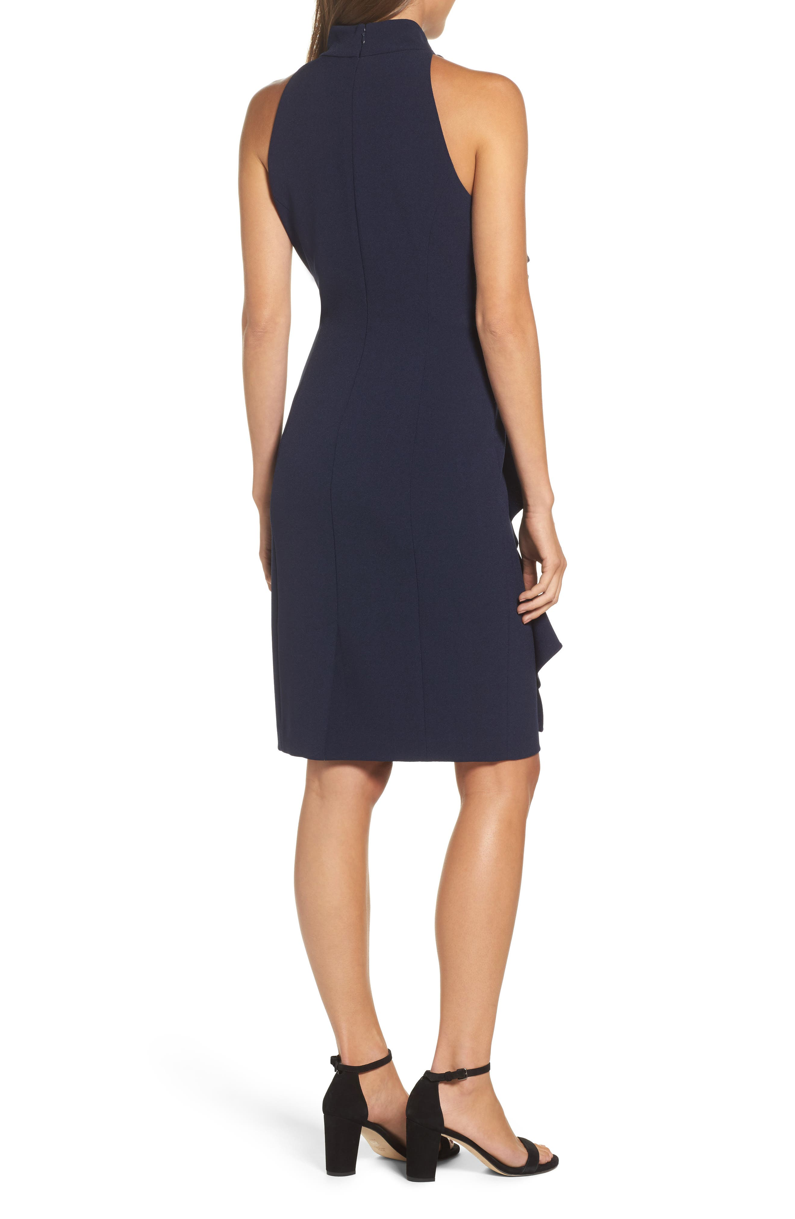 Ruffle Sheath Dress,                             Alternate thumbnail 2, color,                             NAVY