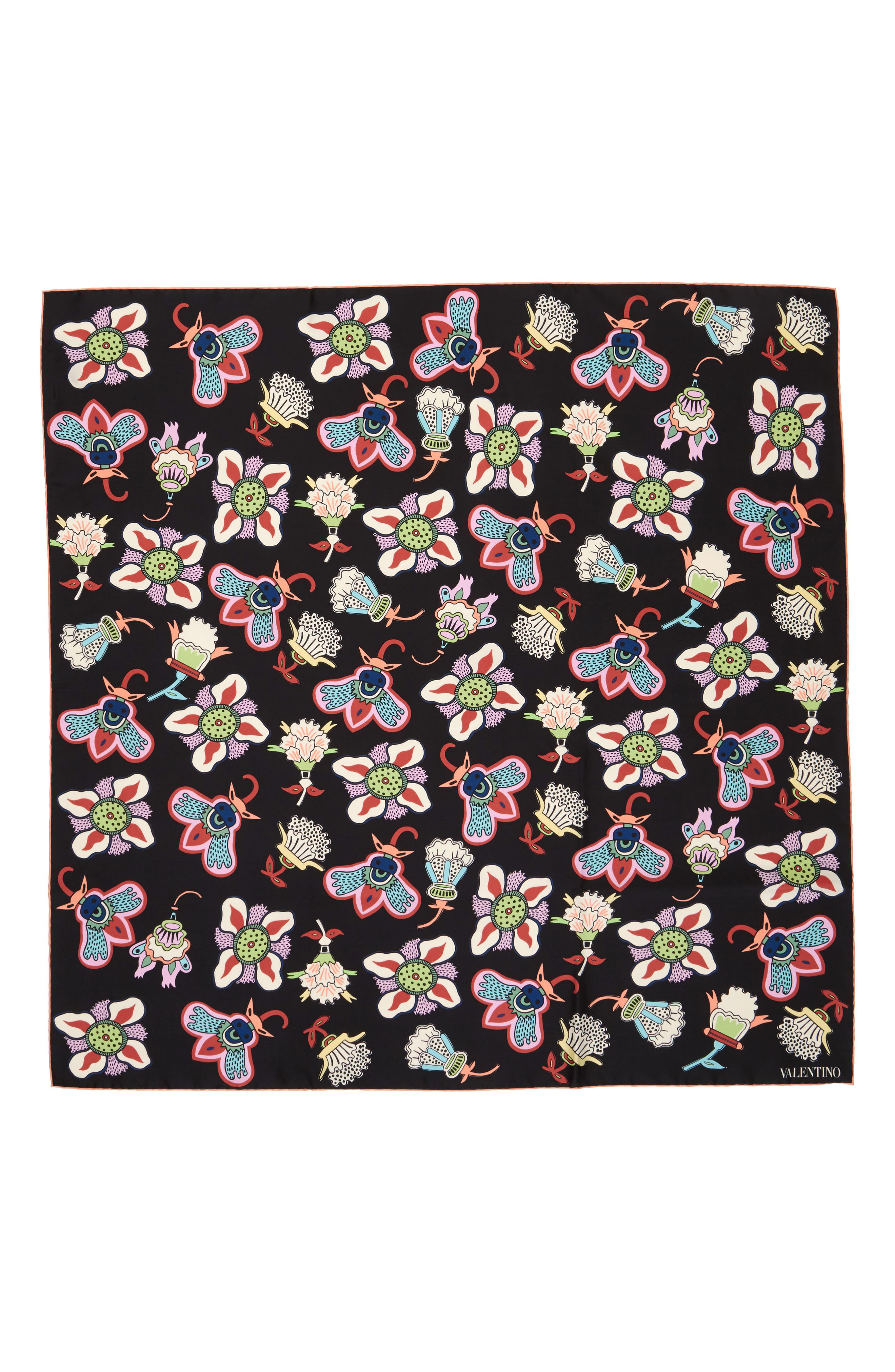 Pop Flower Silk Scarf,                             Main thumbnail 1, color,