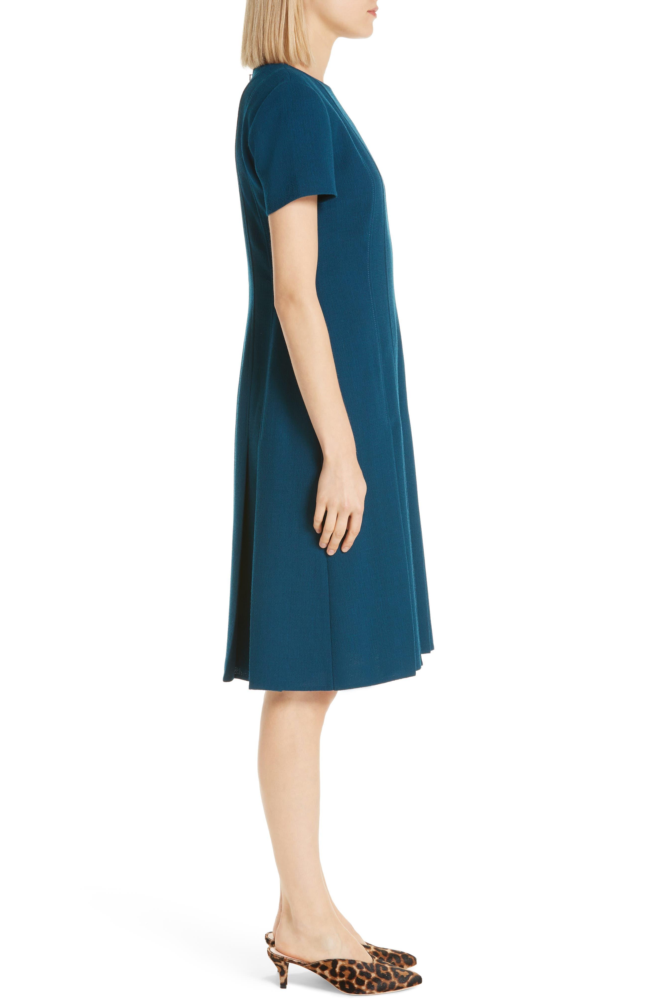Jannie Pleated Hem Dress,                             Alternate thumbnail 3, color,                             EMPRESS TEAL