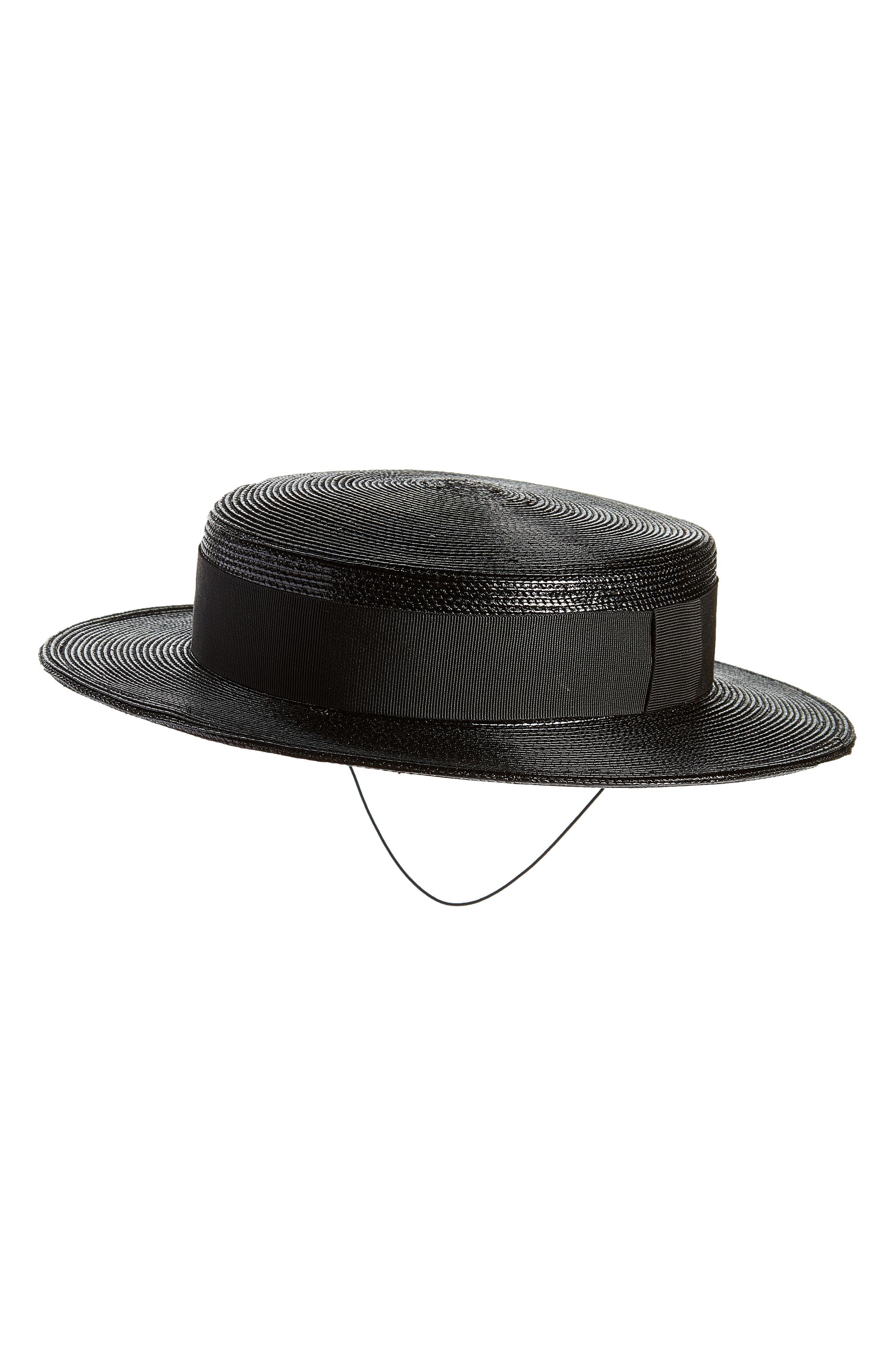 Petite Boater Hat,                             Main thumbnail 1, color,                             BLACK