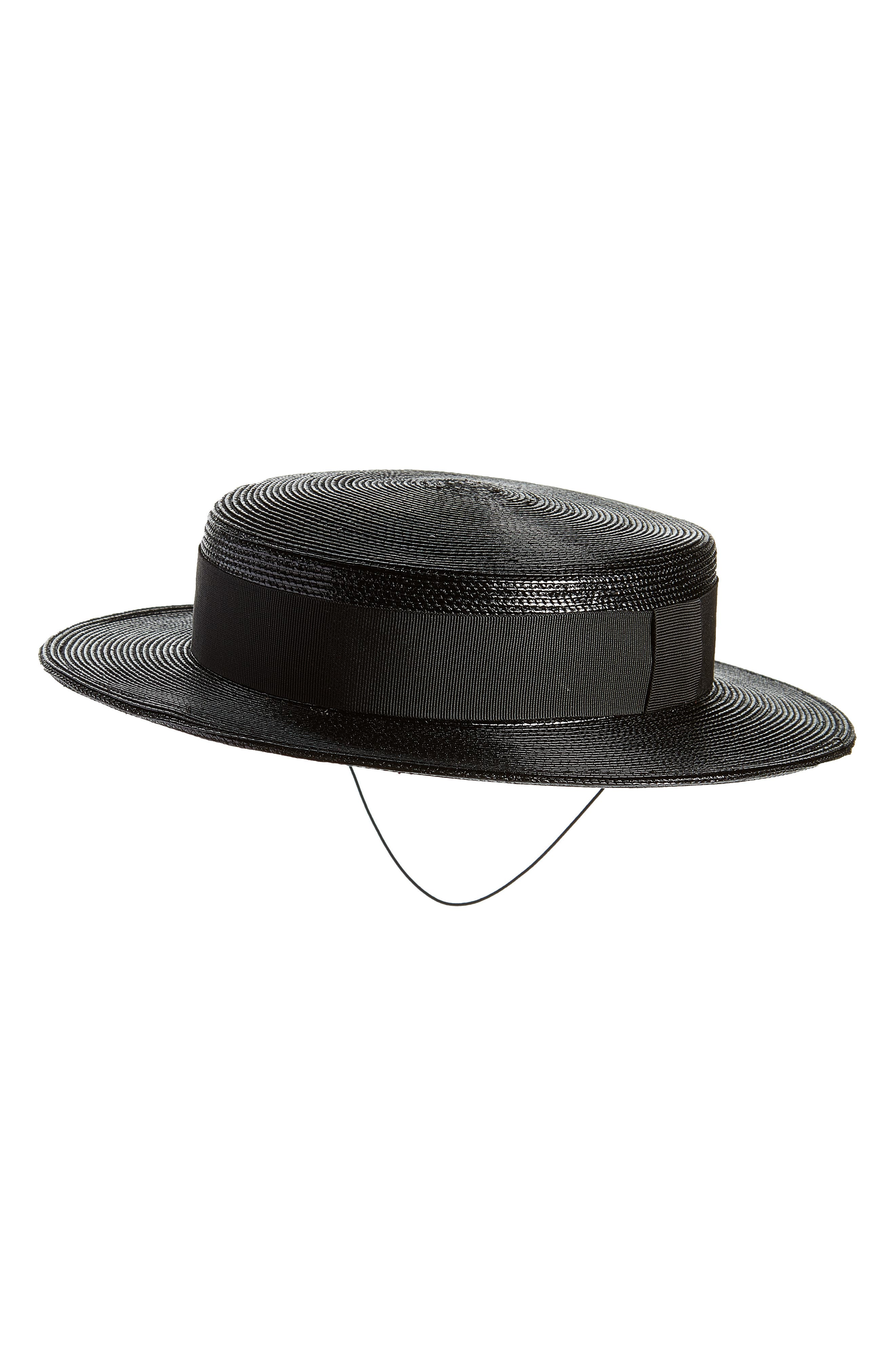 SAINT LAURENT Petite Boater Hat, Main, color, 001
