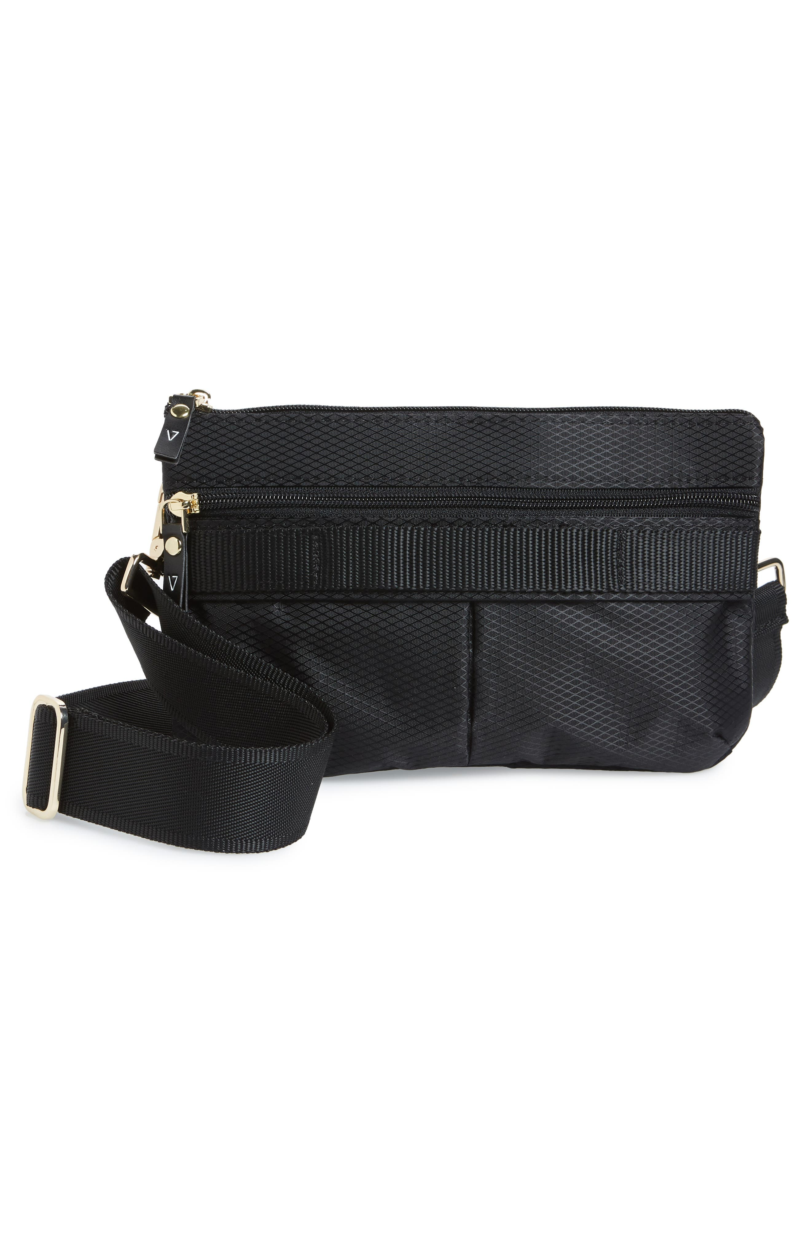 Go Black Expandable Belt Bag,                             Alternate thumbnail 4, color,                             BLACK