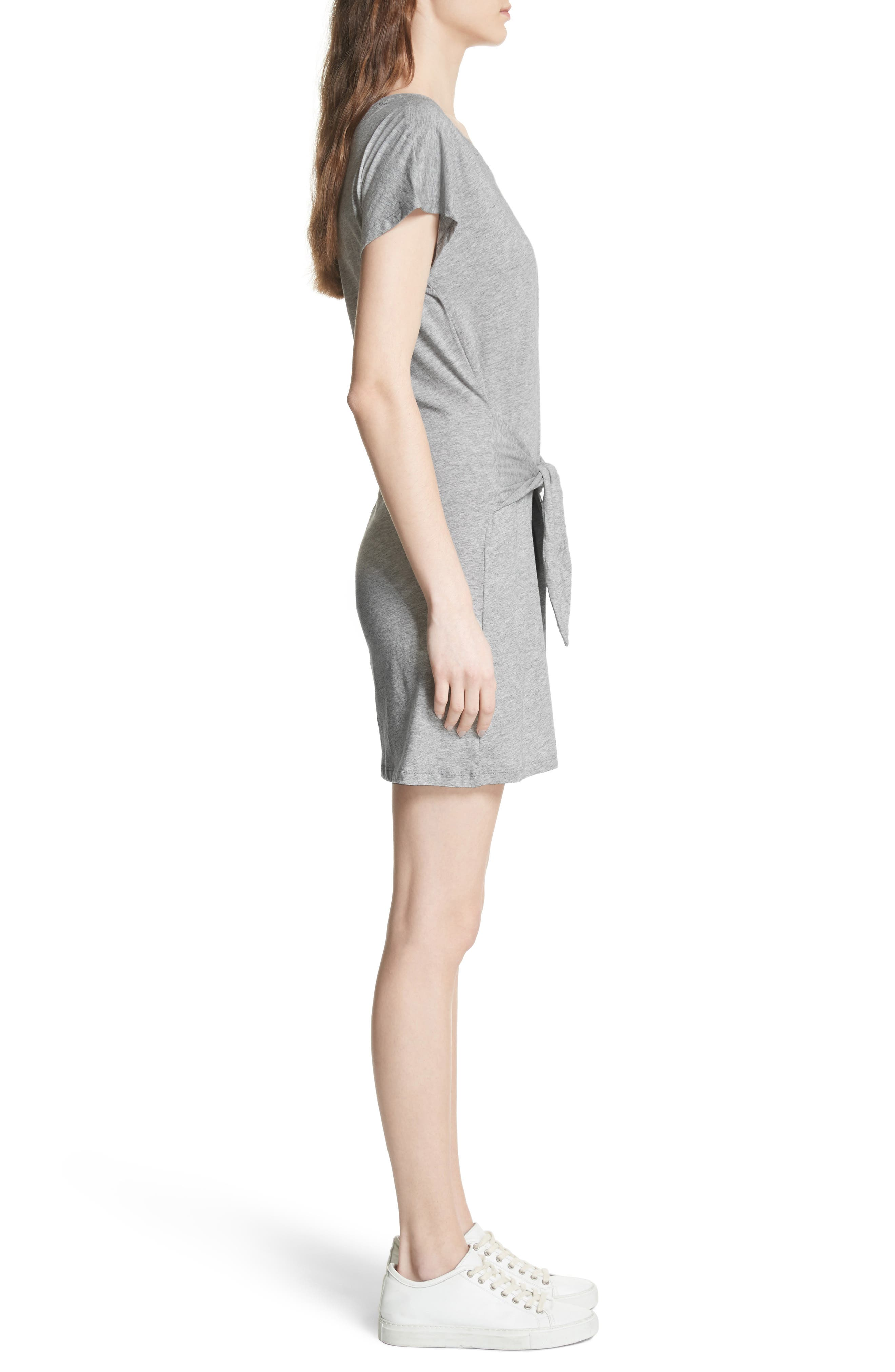 Alyra Tie Waist Cotton T-Shirt Dress,                             Alternate thumbnail 3, color,                             030
