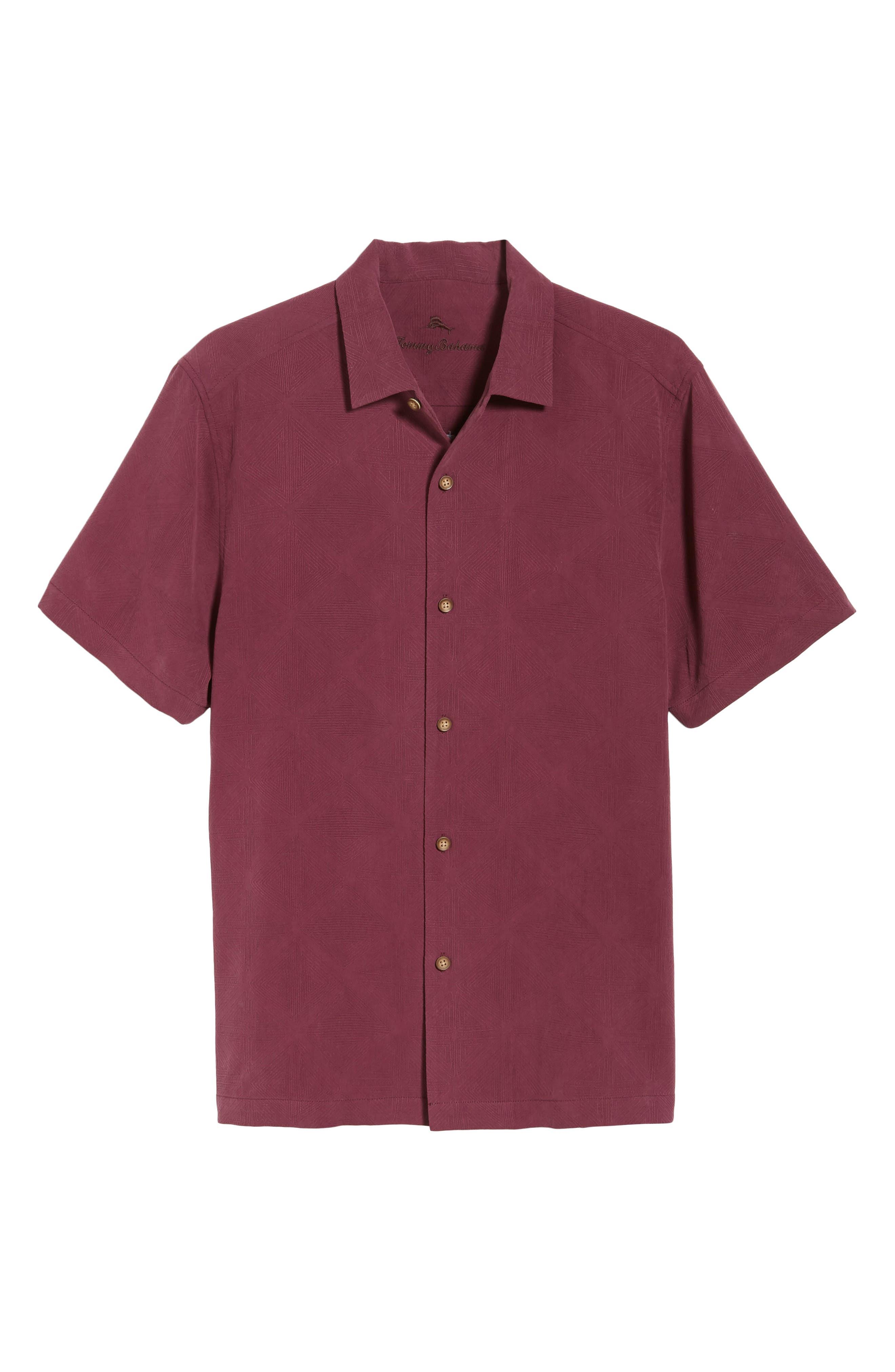 Pura Vino Embroidered Silk Sport Shirt,                             Alternate thumbnail 6, color,                             GRAPE WINE