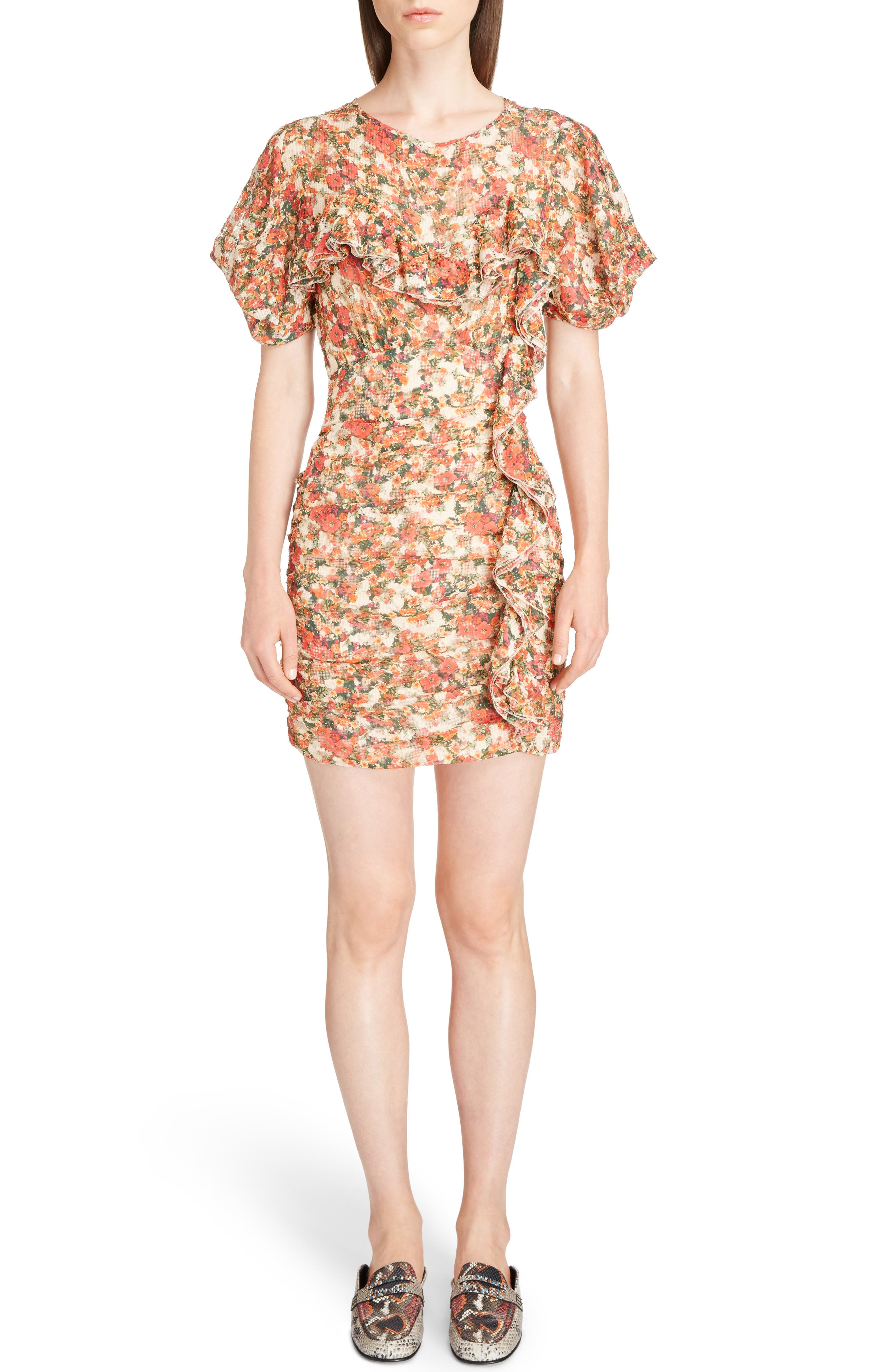Floral Print Ruffle Dress,                             Main thumbnail 1, color,                             600