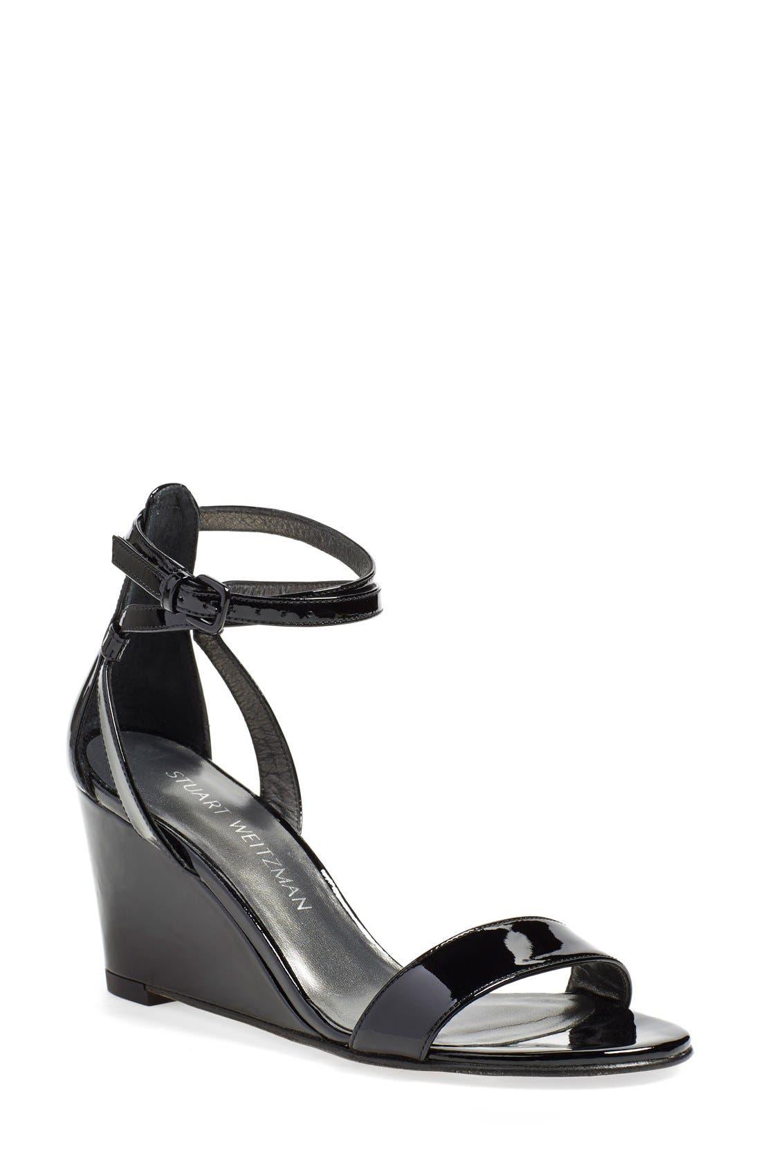 'Backdraft' Ankle Strap Wedge Sandal,                             Main thumbnail 1, color,                             002