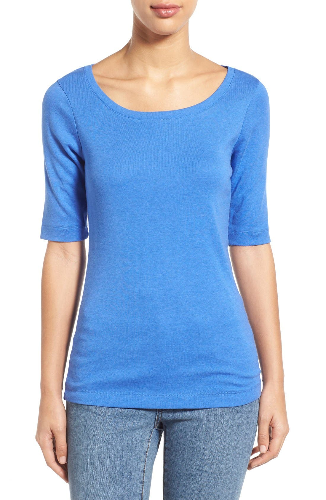Ballet Neck Cotton & Modal Knit Elbow Sleeve Tee,                             Main thumbnail 24, color,