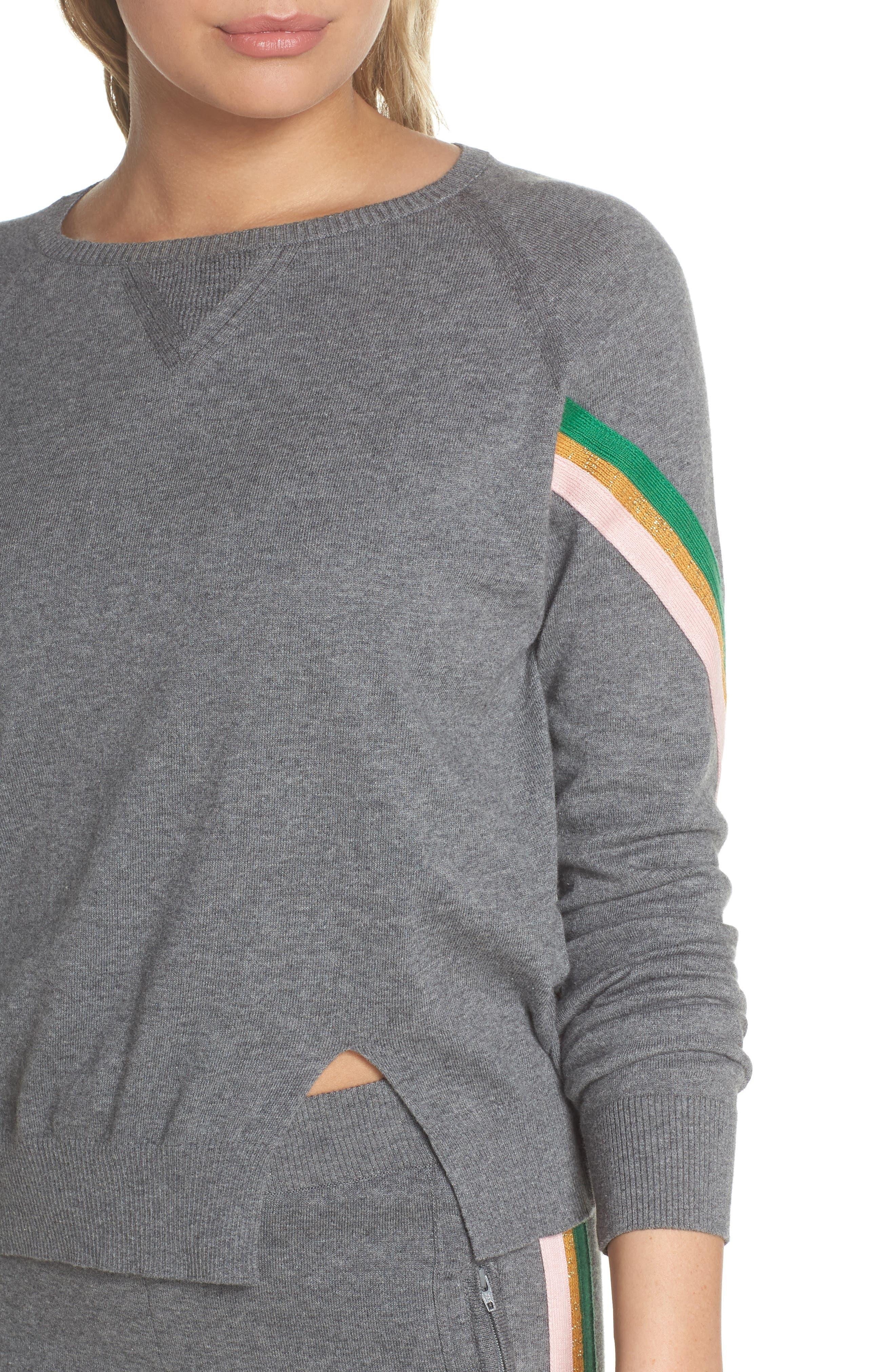 Rainbow Stripe Sweatshirt,                             Alternate thumbnail 4, color,