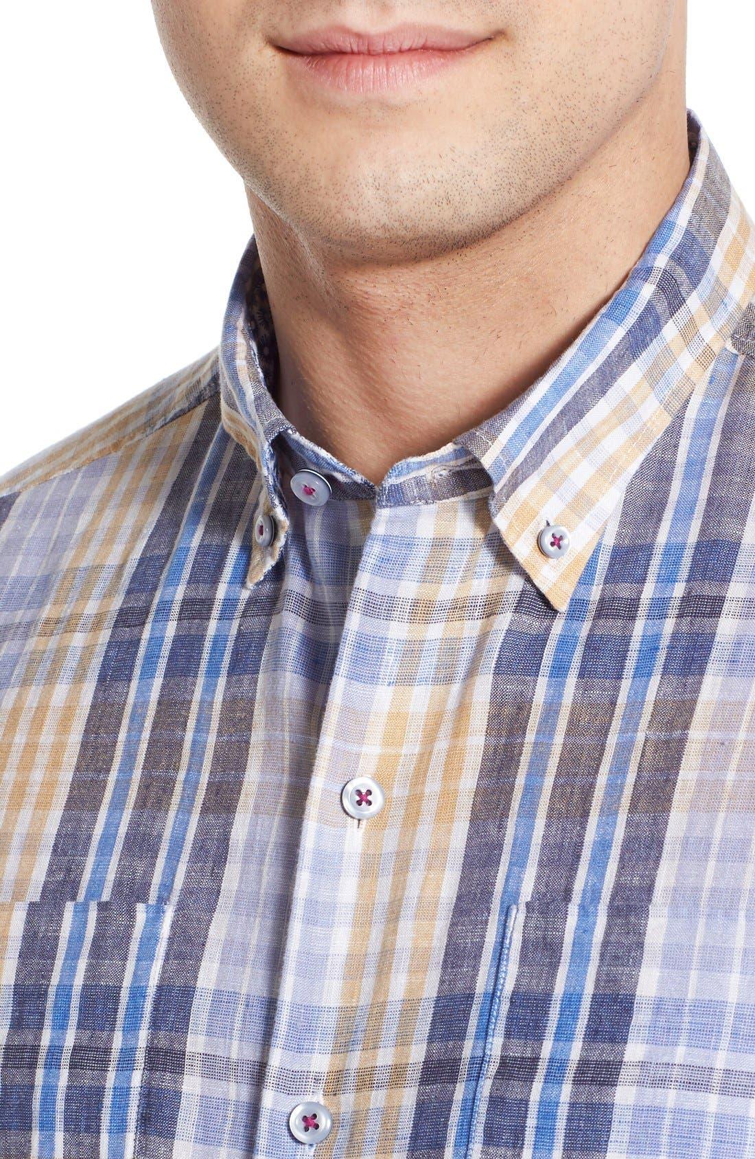 'Sun Direction' Regular Fit Plaid Sport Shirt,                             Alternate thumbnail 4, color,