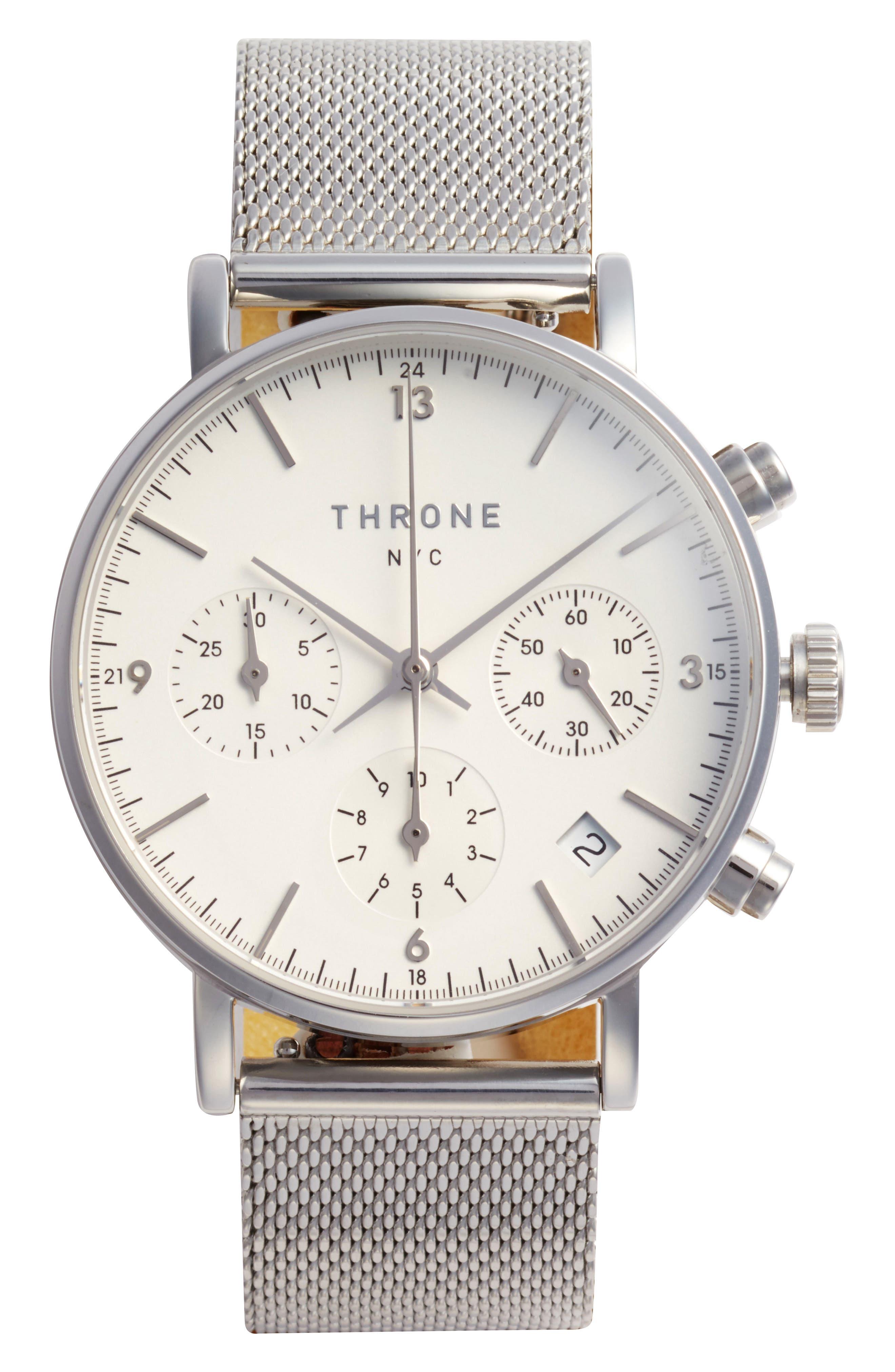 2.0 Chronograph Mesh Strap Watch, 40mm,                             Main thumbnail 1, color,                             SILVER/ WHITE