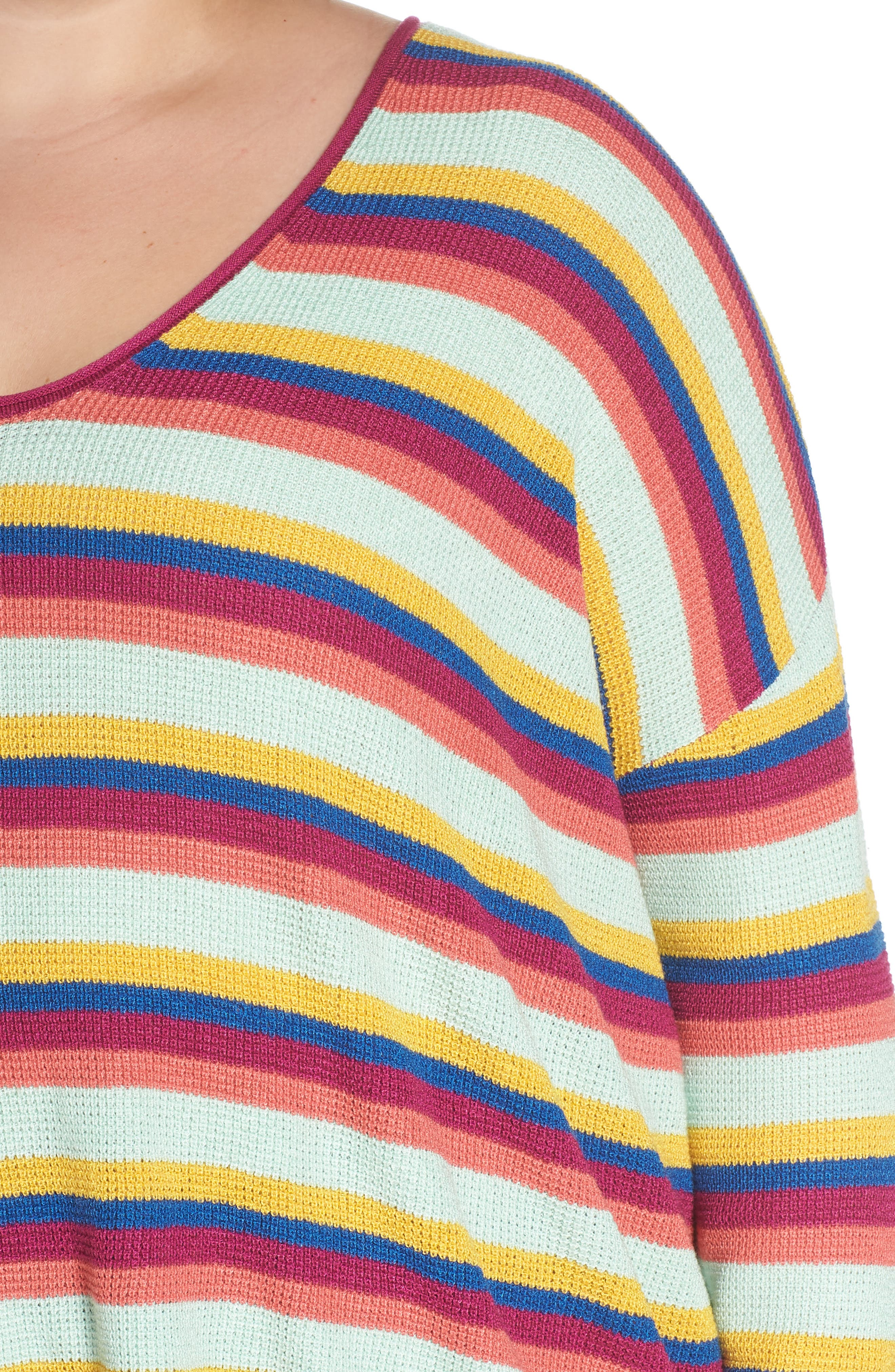 BP.,                             Stripe Thermal Stitch Sweater,                             Alternate thumbnail 10, color,                             PINK YARROW EMMA STRIPE