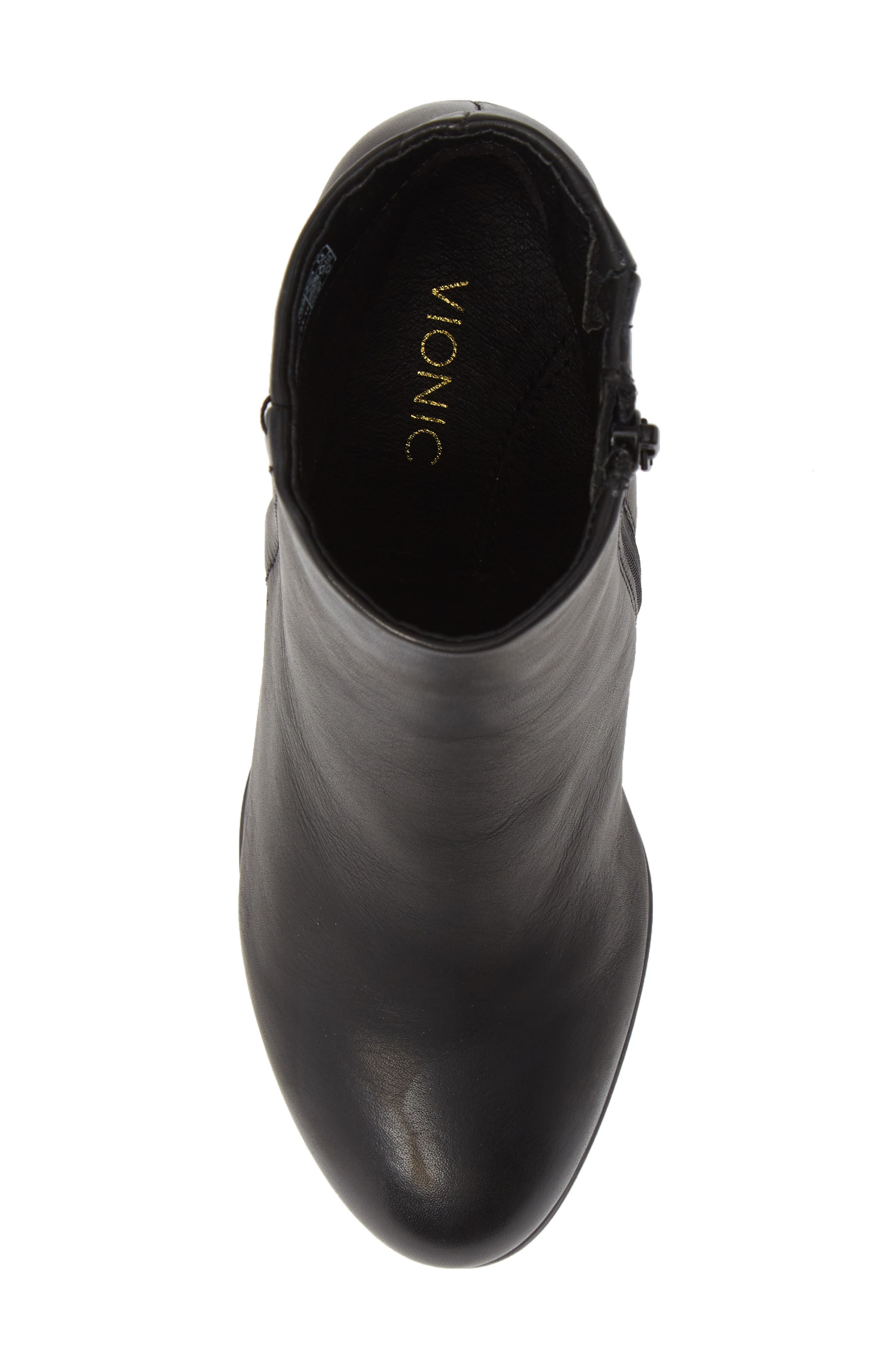 VIONIC,                             Kennedy Ankle Bootie,                             Alternate thumbnail 5, color,                             BLACK LEATHER