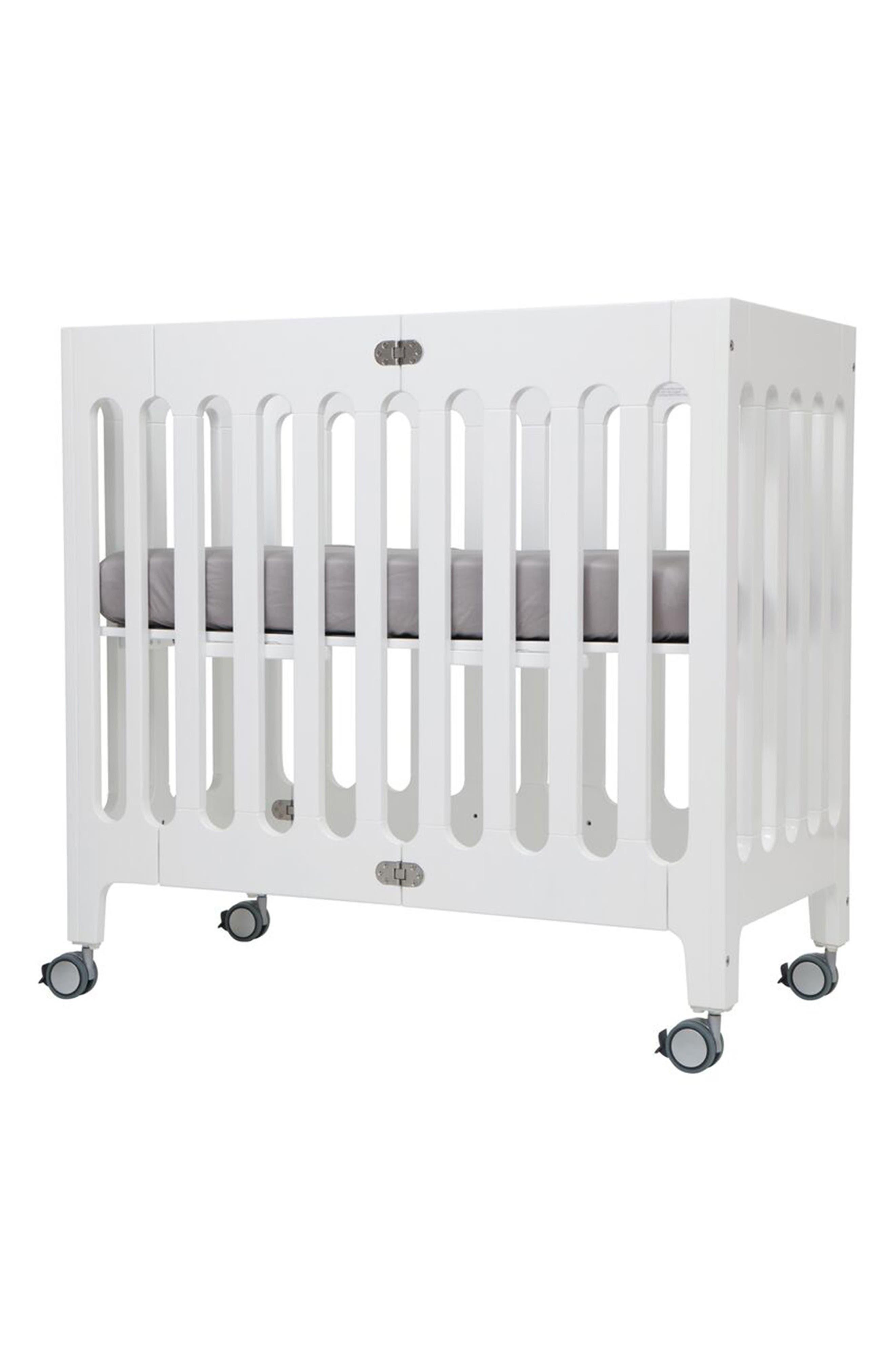 Baby Alma Urban Mini Solid Wood Crib,                         Main,                         color, COCONUT WHITE