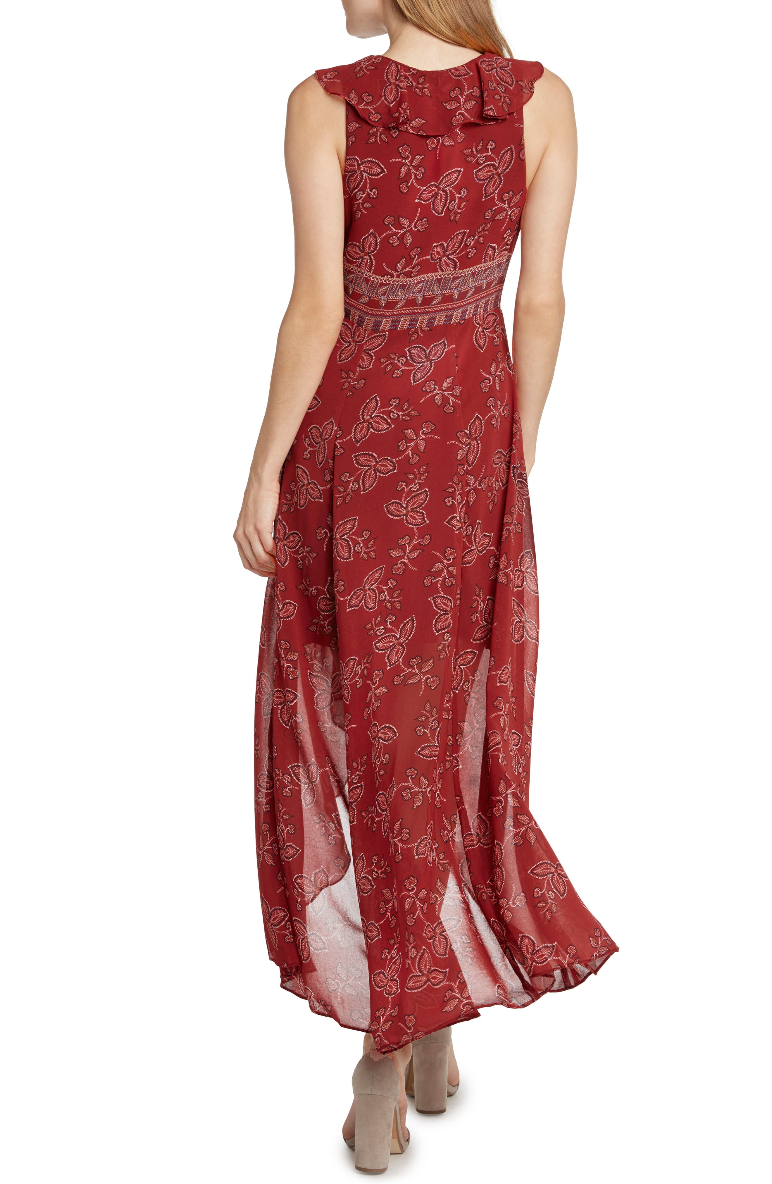 Print High/Low Maxi Dress,                             Alternate thumbnail 2, color,                             SCARLET