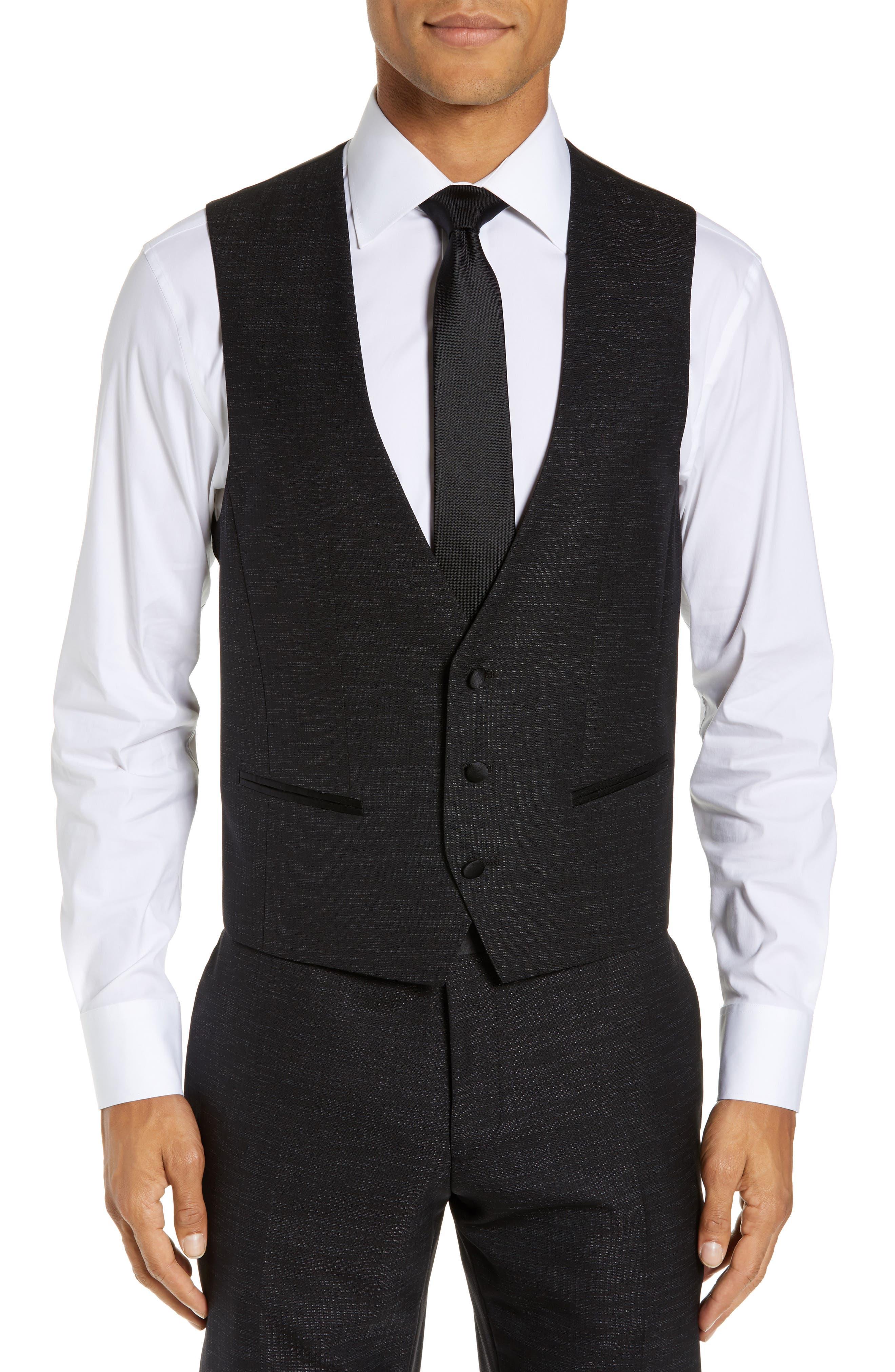 BOSS,                             Rendal/Wilden Slim Fit Three-Piece Tuxedo,                             Alternate thumbnail 6, color,                             BLACK