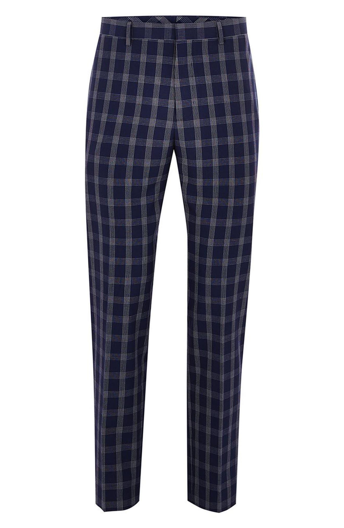 Muscle Fit Check Suit Trousers,                             Alternate thumbnail 3, color,                             NAVY BLUE MULTI