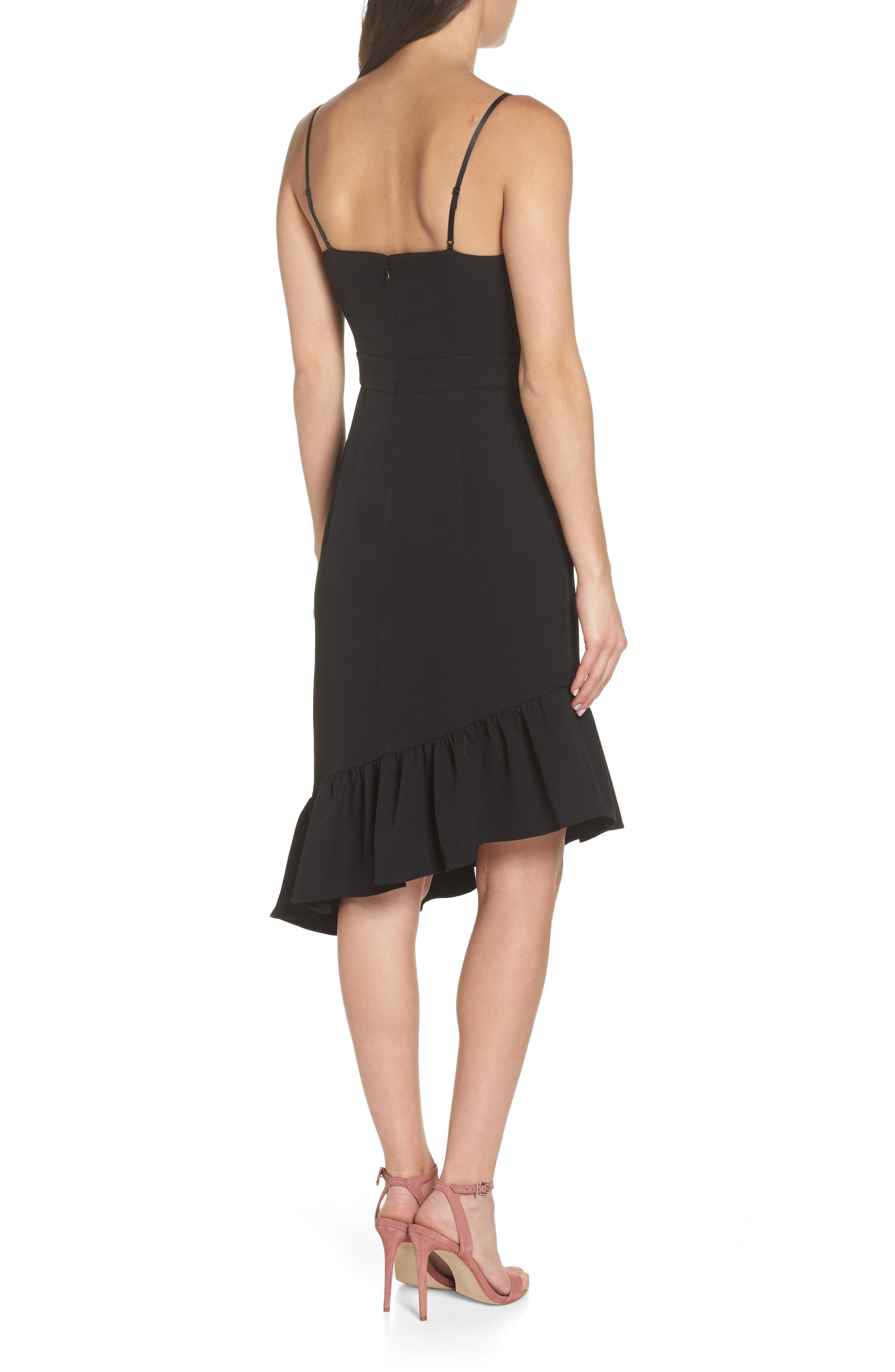 Asymmetric Ruffle Hem Dress,                             Alternate thumbnail 3, color,                             001