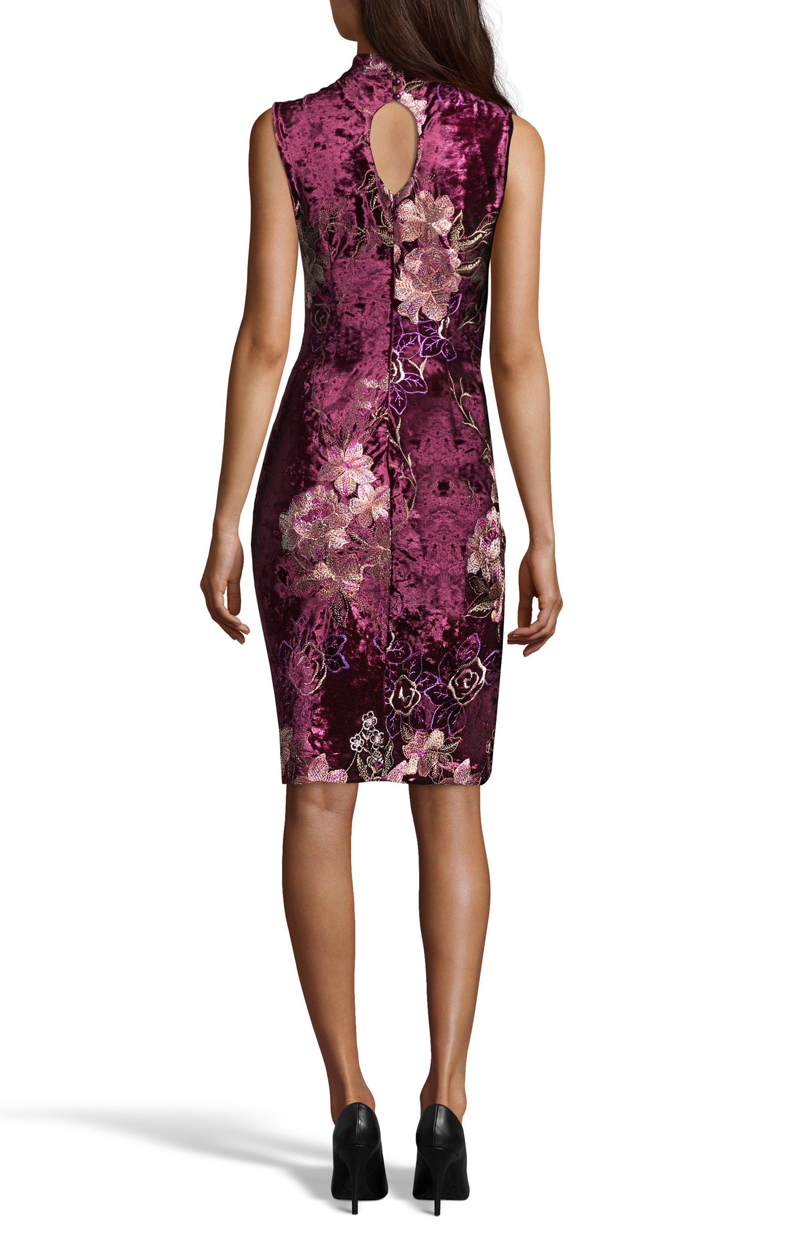 Crushed Velvet Sheath Dress,                             Alternate thumbnail 4, color,