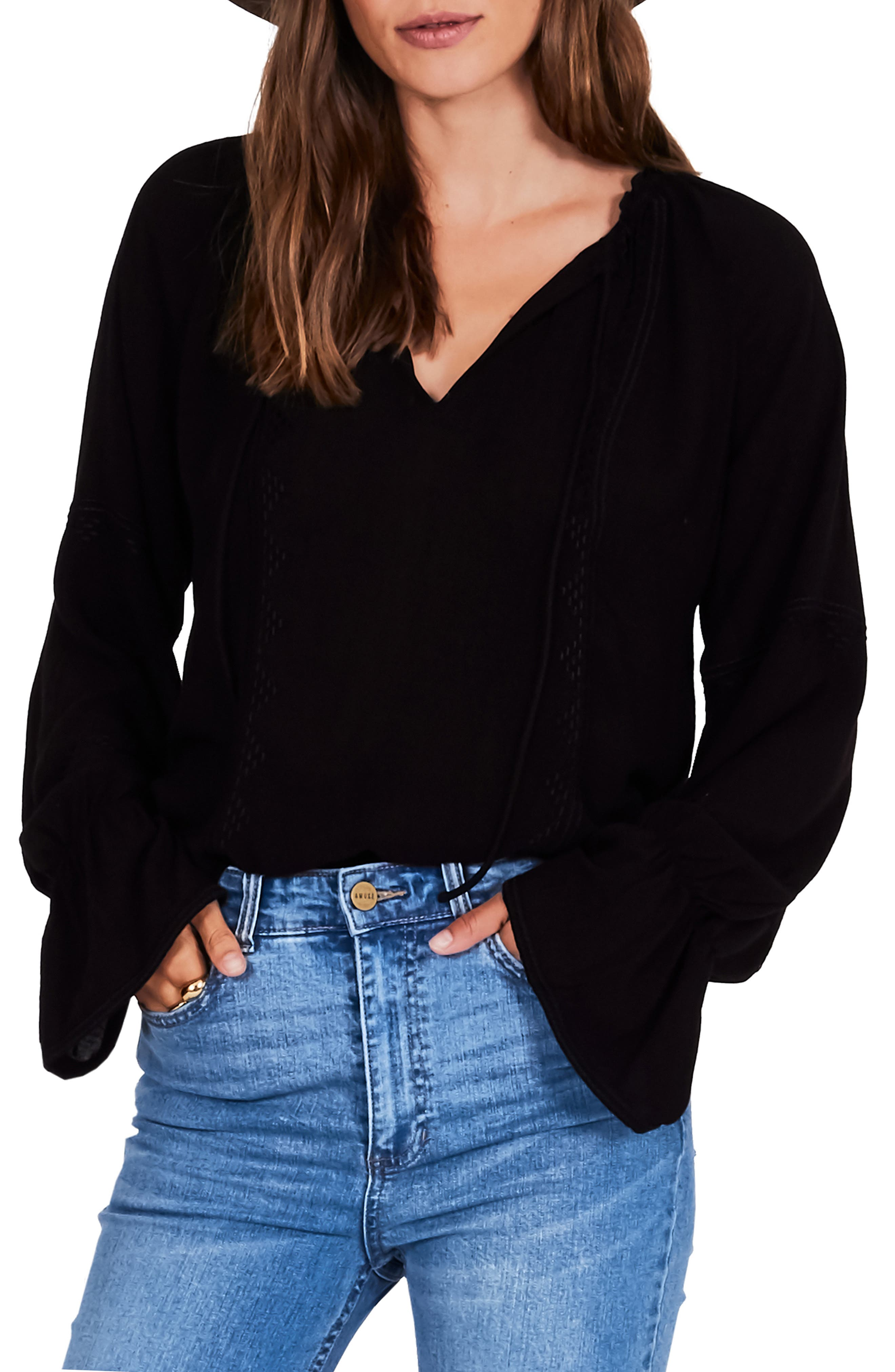 AMUSE SOCIETY Pebble Bell Sleeve Top in Black