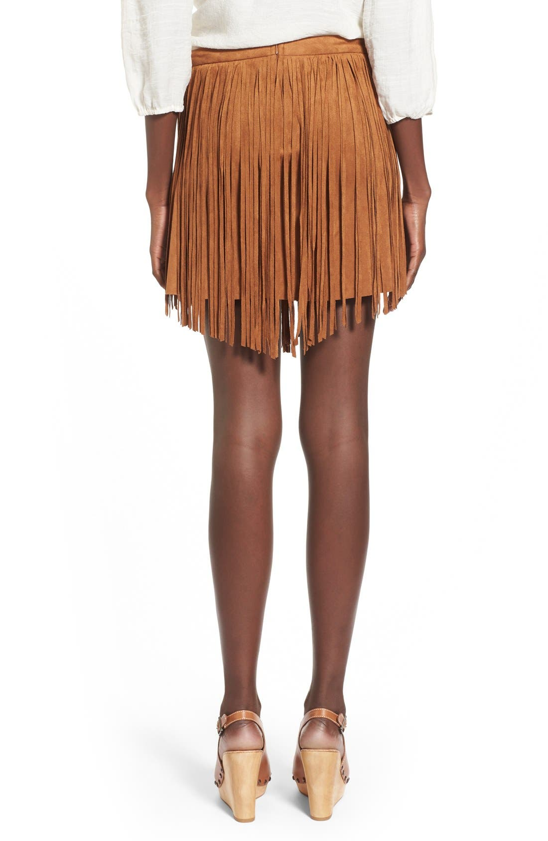 Fringe FauxSuede Skirt,                             Alternate thumbnail 3, color,
