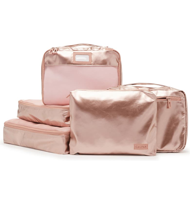 CALPAK 5-Piece Packing Cube Set, Main, color, ROSE GOLD
