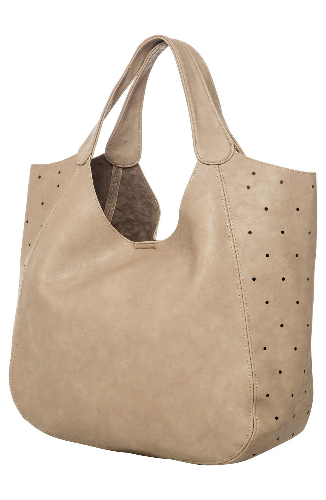Masterpiece Perforated Vegan Leather Tote,                             Alternate thumbnail 3, color,                             STONE GREY