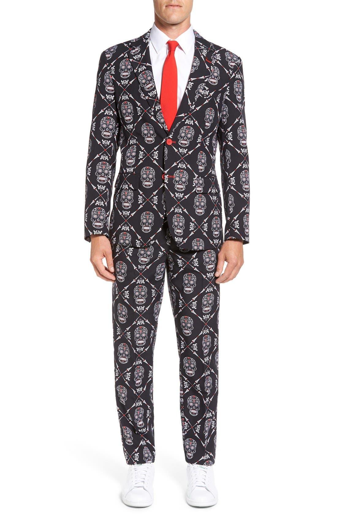 'Haunting Hombre' Trim Fit Suit with Tie,                             Main thumbnail 1, color,                             001