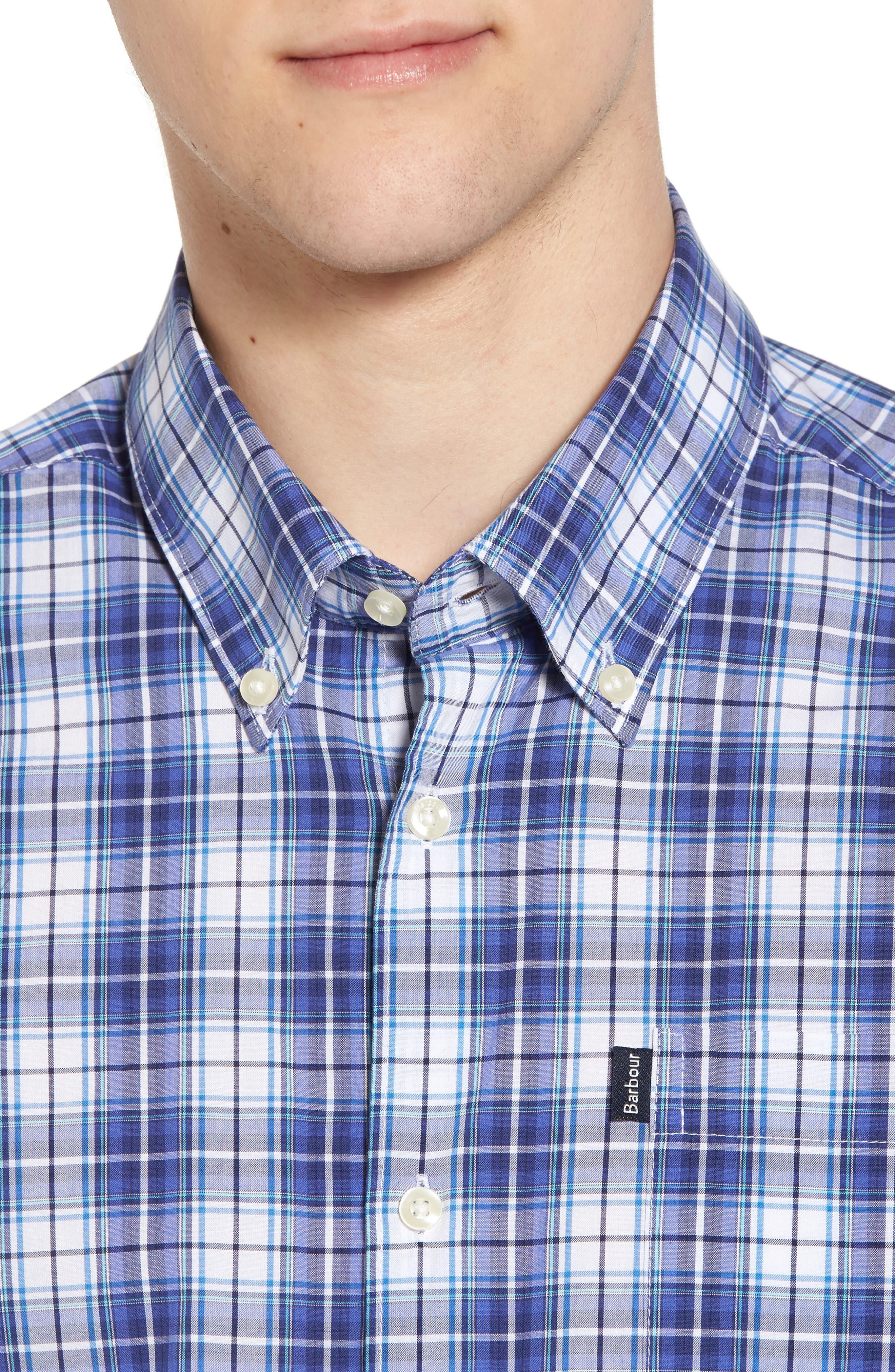 Leo Trim Fit Plaid Sport Shirt,                             Alternate thumbnail 4, color,                             420