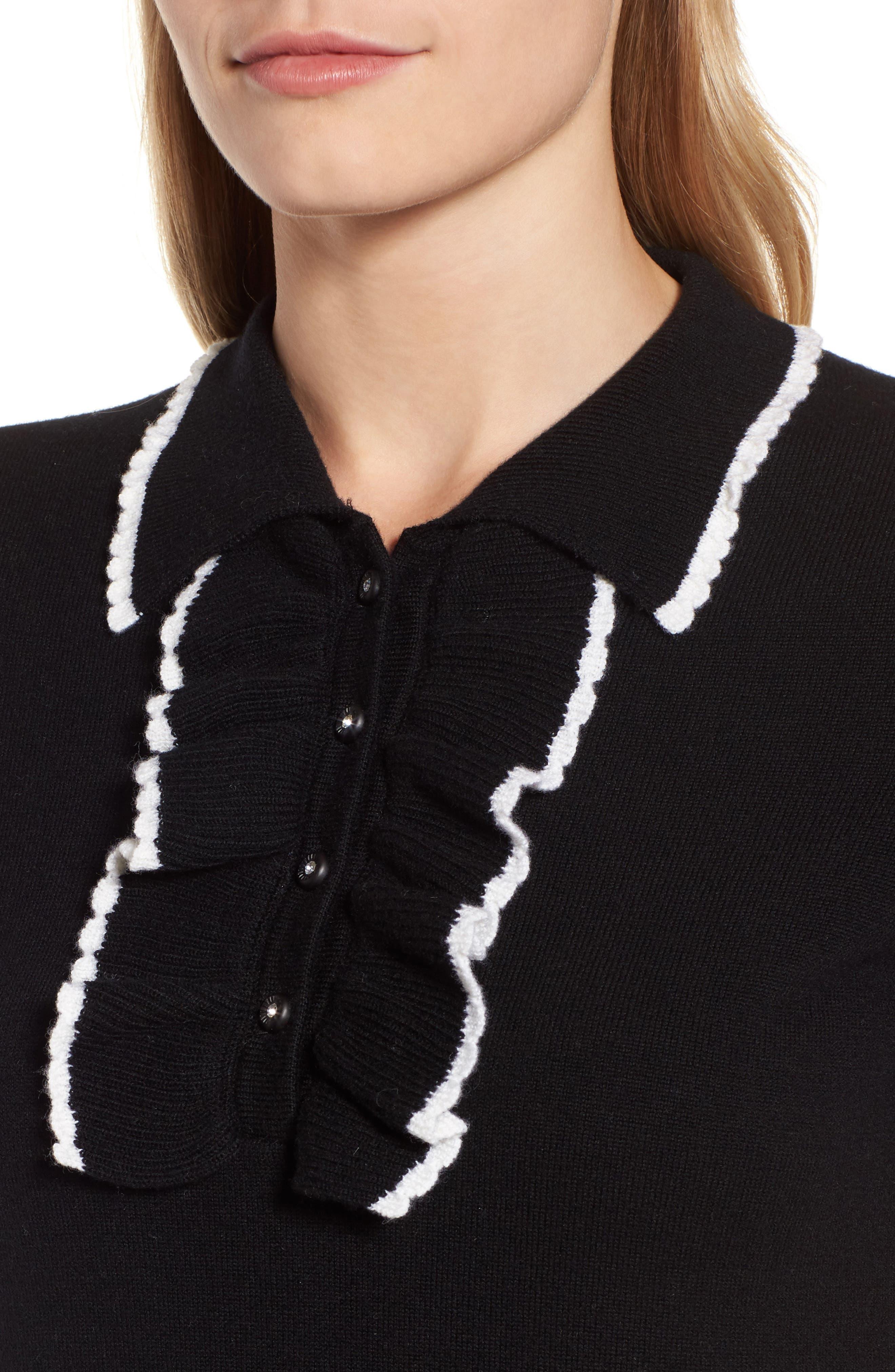 Polo Sweater Dress,                             Alternate thumbnail 4, color,                             001