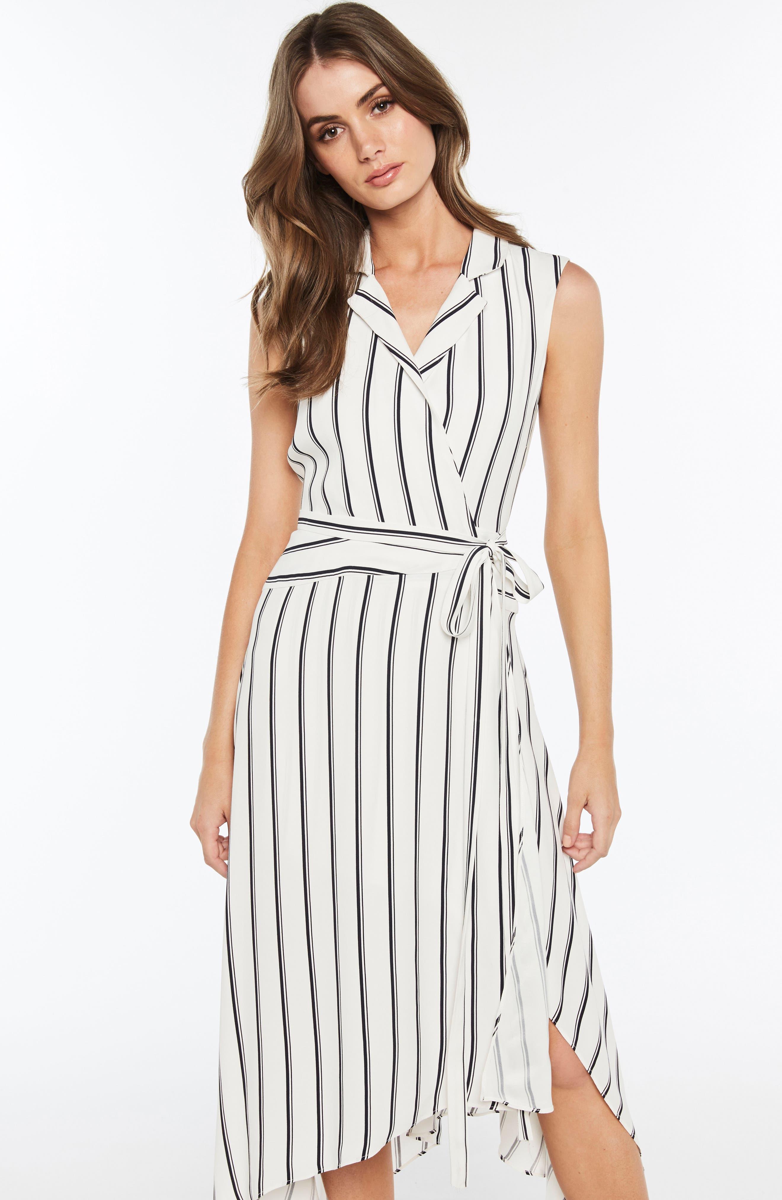 Salina Stripe Asymmetric Wrap Dress,                             Alternate thumbnail 5, color,                             162