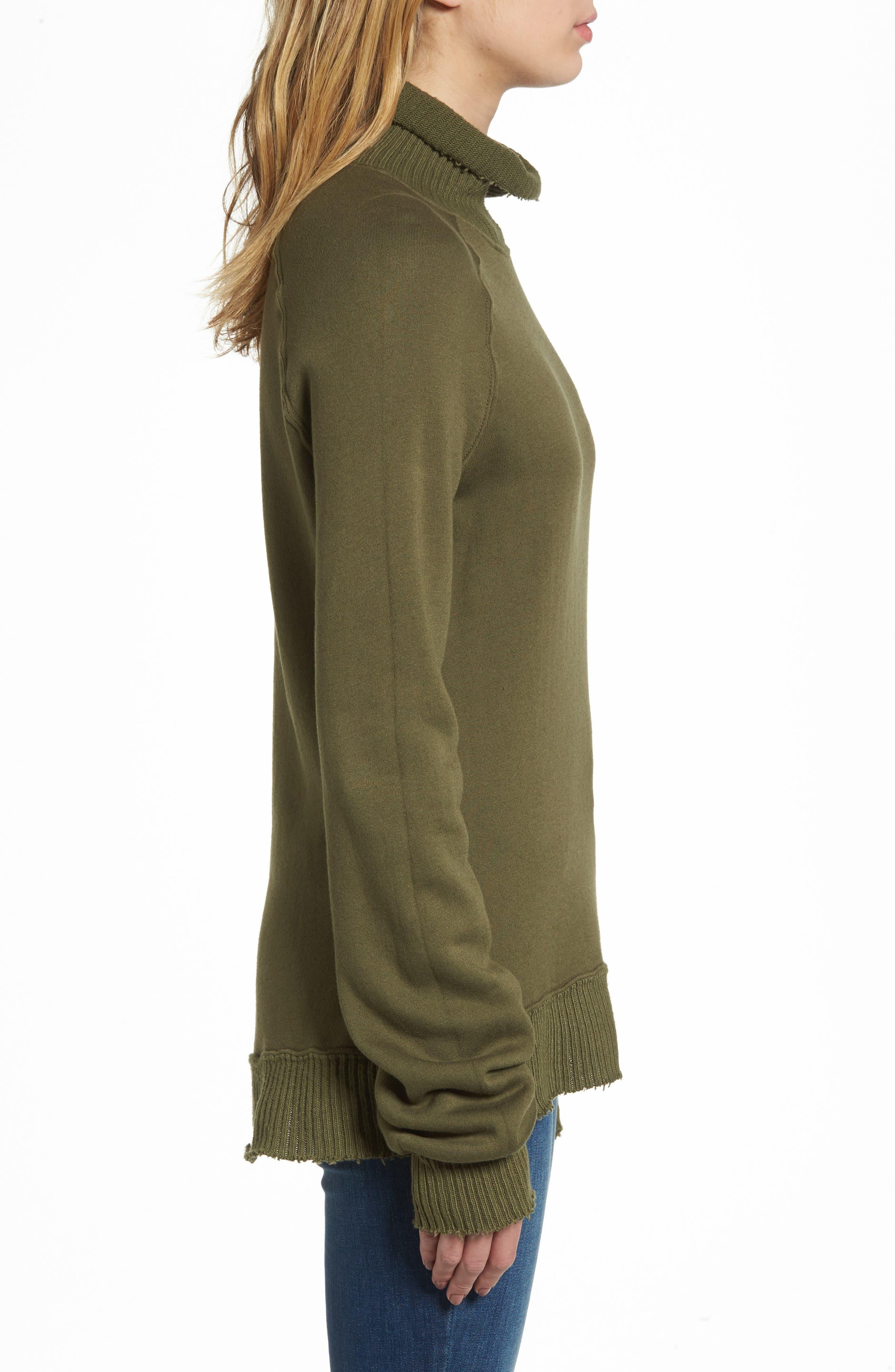 Distressed Fleece Turtleneck Sweatshirt,                             Alternate thumbnail 3, color,                             317