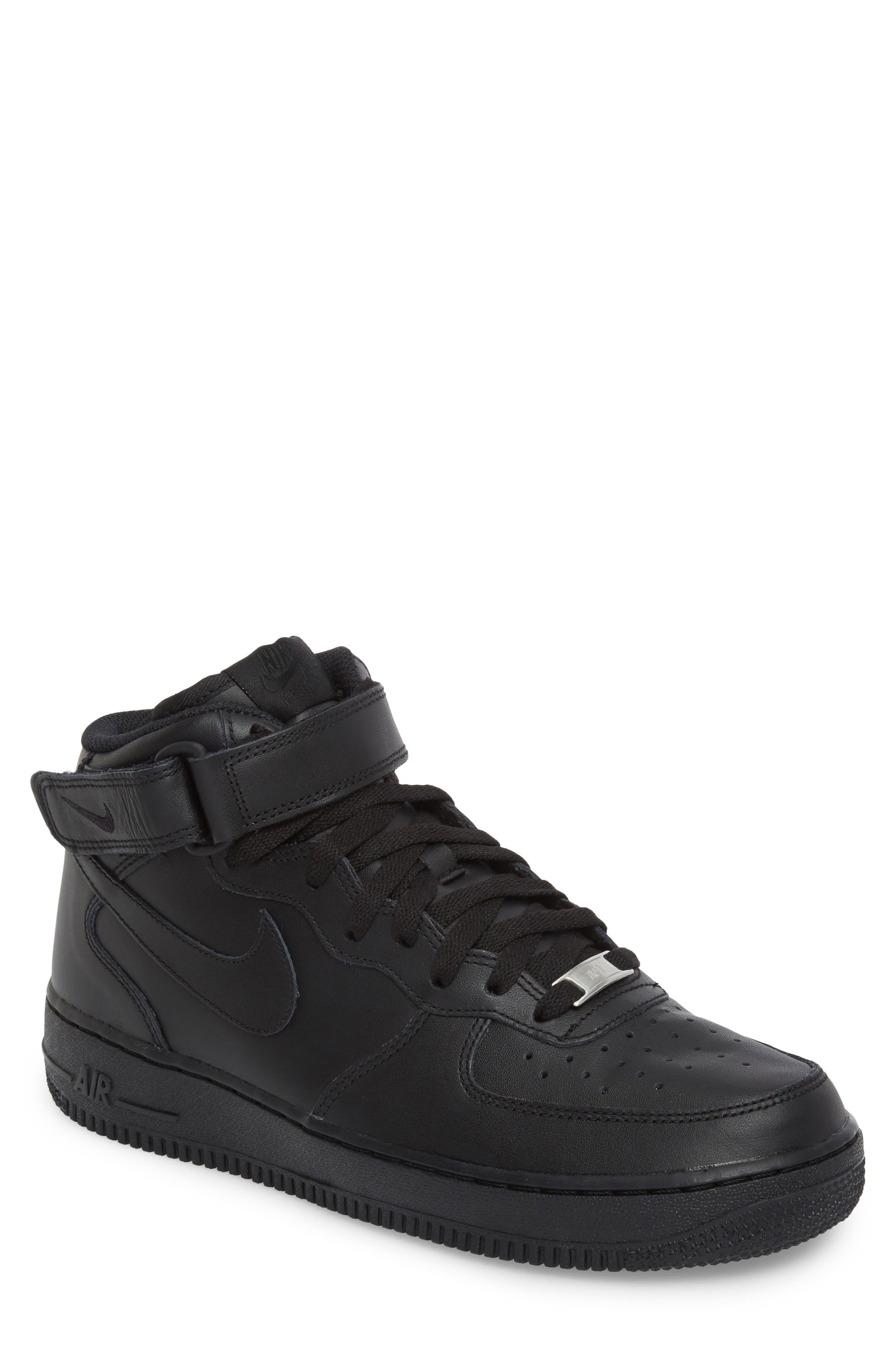 Air Force 1 Mid '07 Sneaker,                             Main thumbnail 1, color,                             BLACK/ BLACK