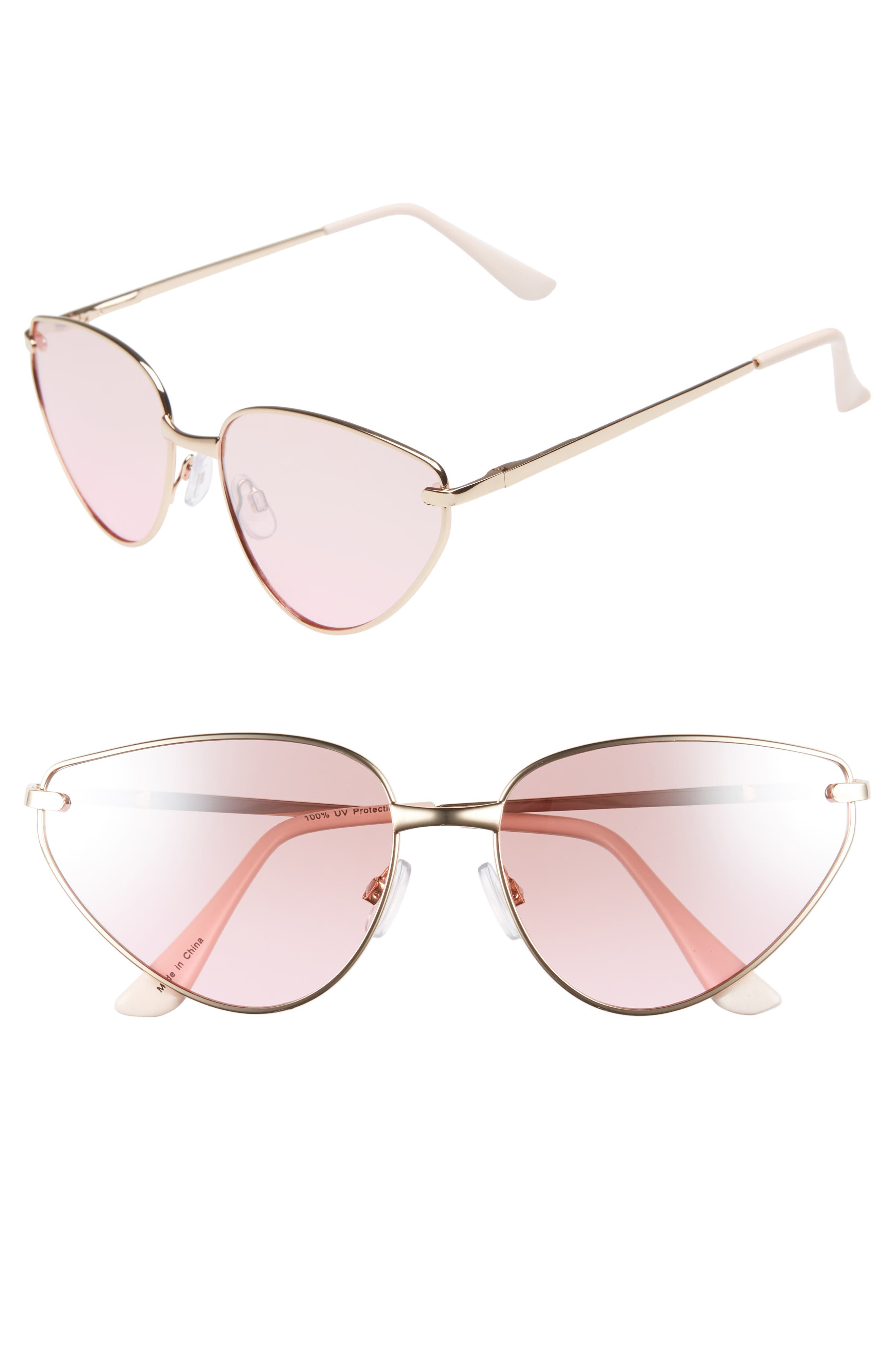 60mm Exaggerated Cat Eye Sunglasses,                         Main,                         color, 710