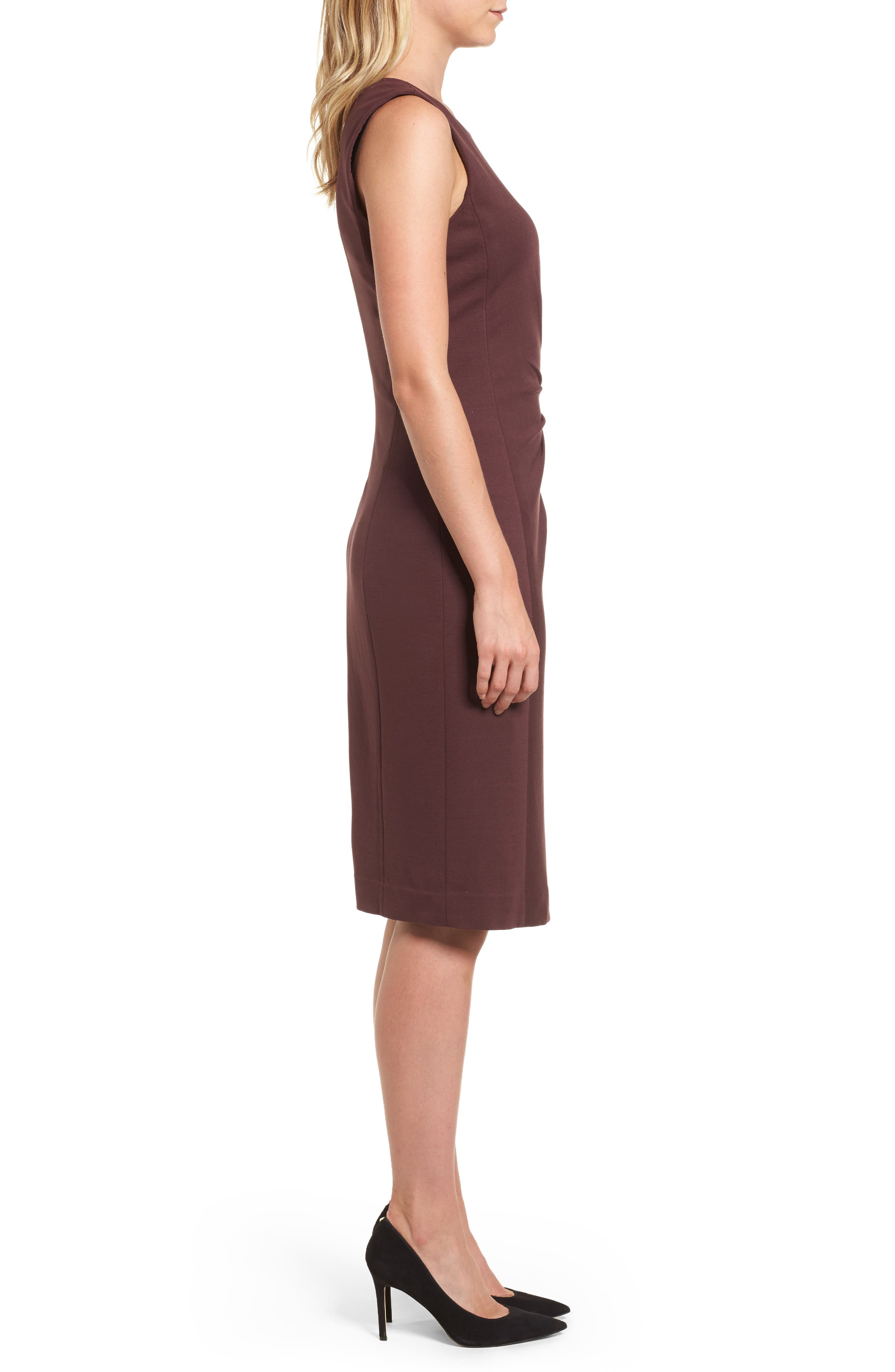 Pleated Ponte Dress,                             Alternate thumbnail 3, color,                             938