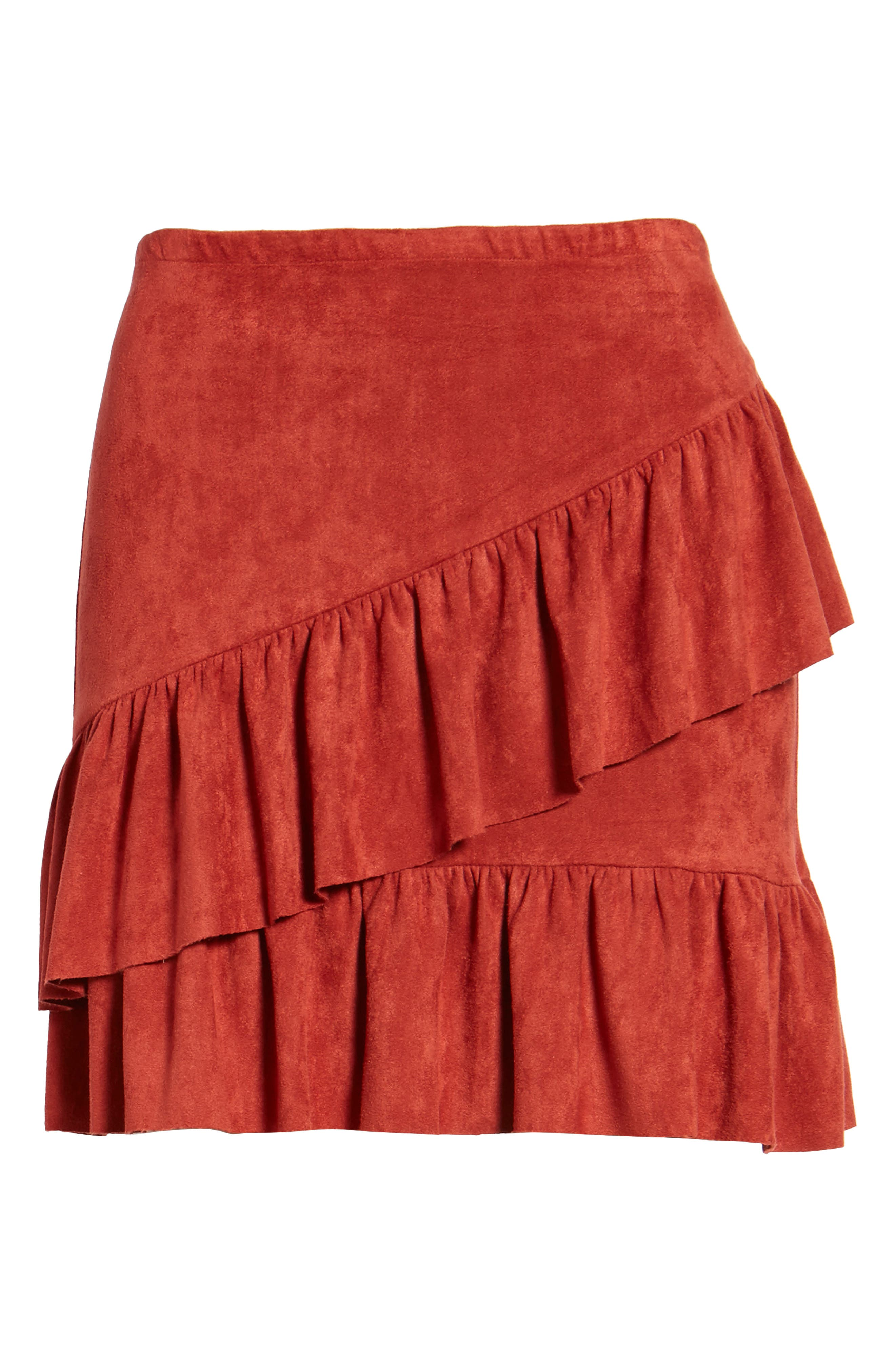 Faux Suede Ruffle Miniskirt,                             Alternate thumbnail 6, color,                             200