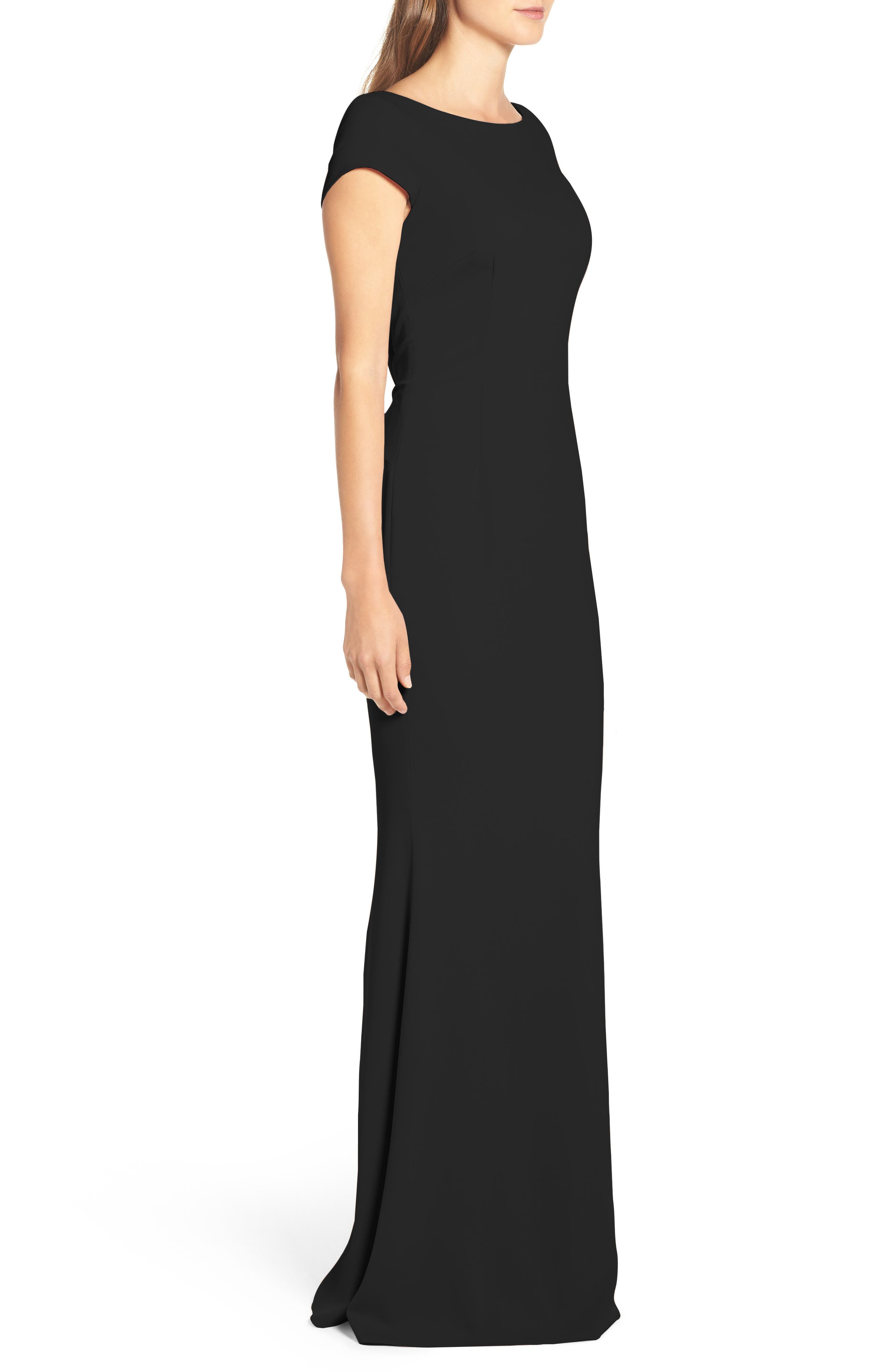Intrigue Plunge Knot Back Gown,                             Alternate thumbnail 3, color,                             BLACK