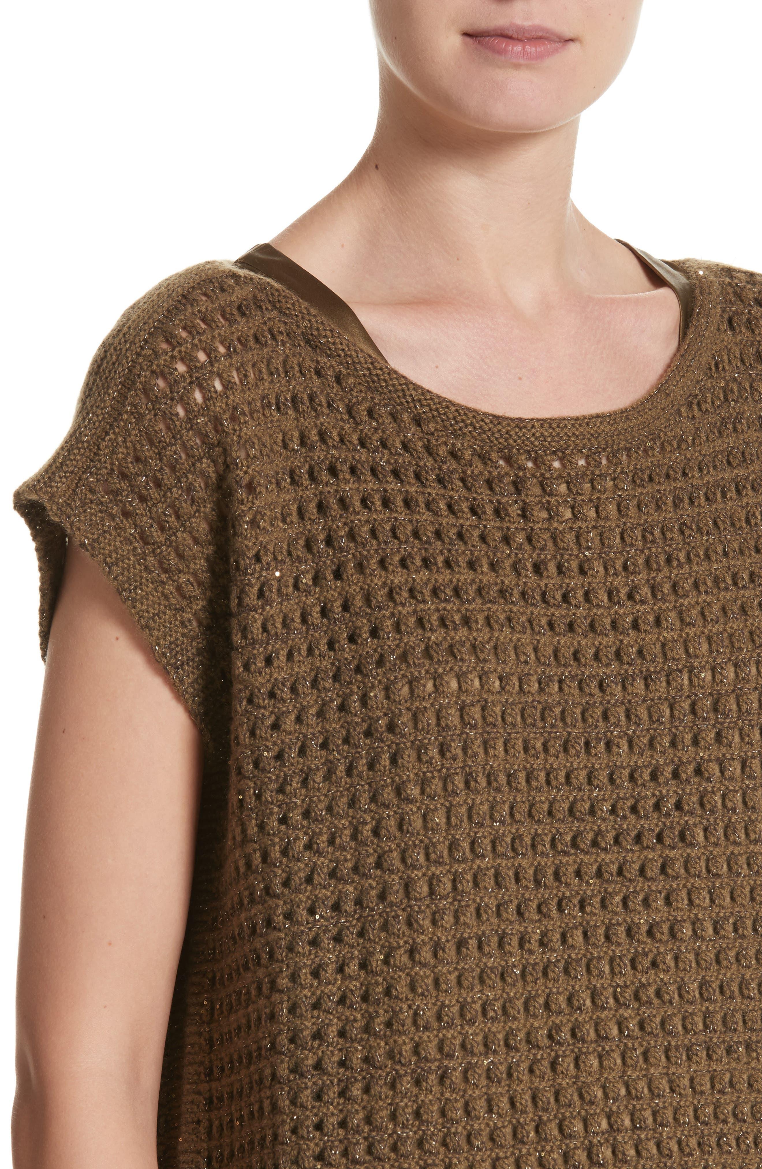 Cashmere Open Stitch Sequin Sweater,                             Alternate thumbnail 4, color,                             242