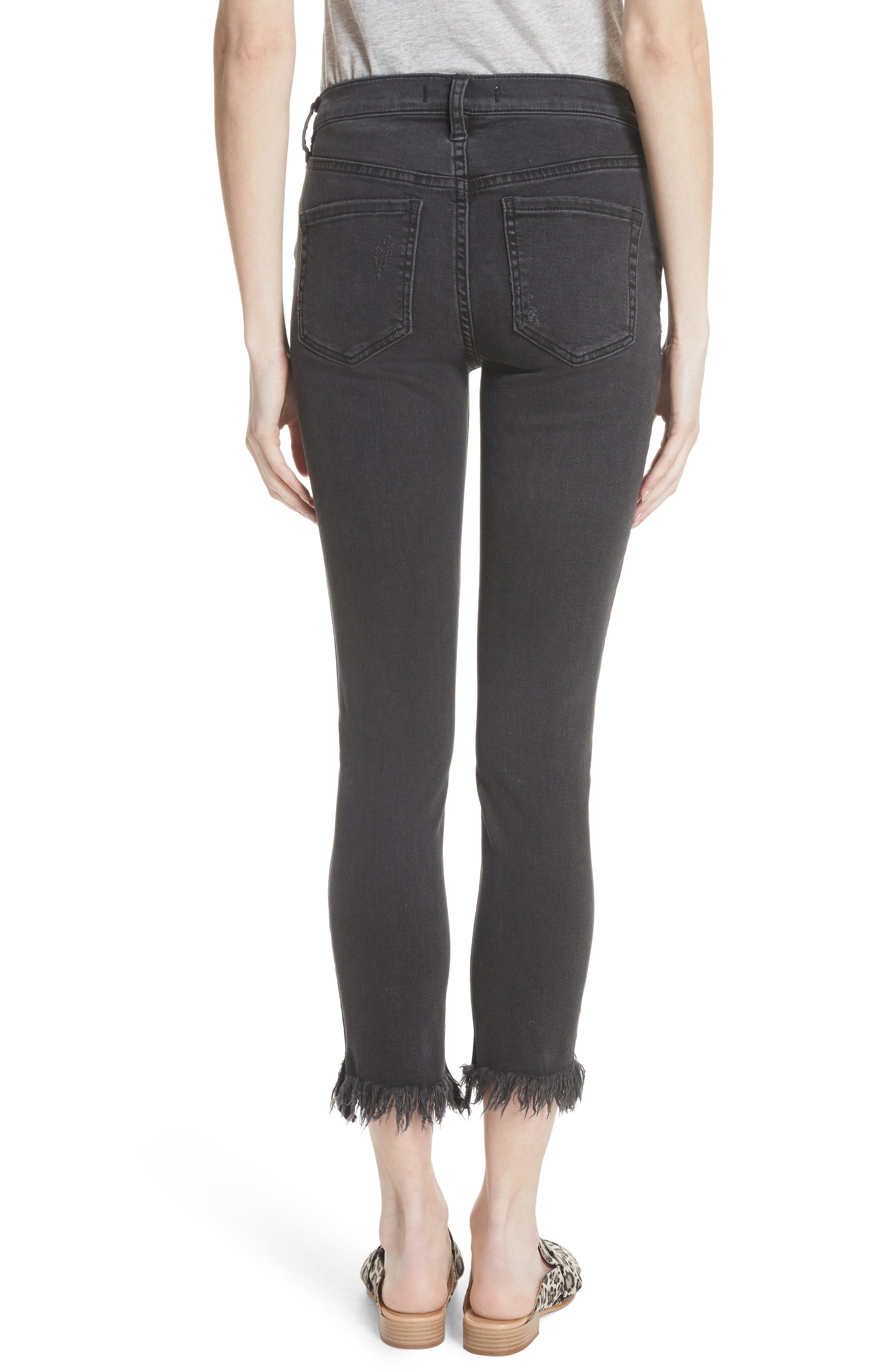 We the Free by Free People Great Heights Frayed Skinny Jeans,                             Alternate thumbnail 2, color,                             001