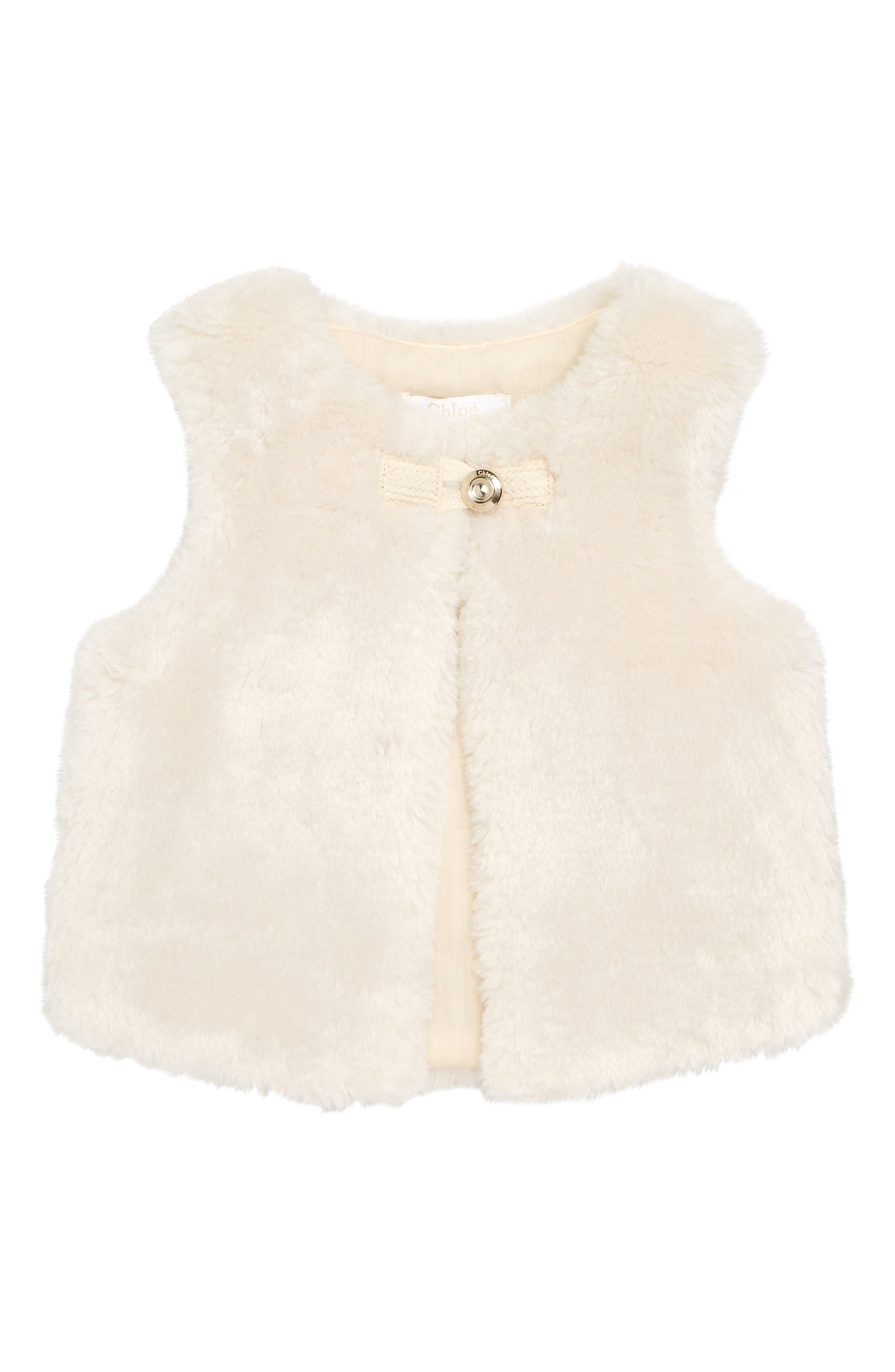 Faux Fur Vest,                         Main,                         color, 127 IVOIRE