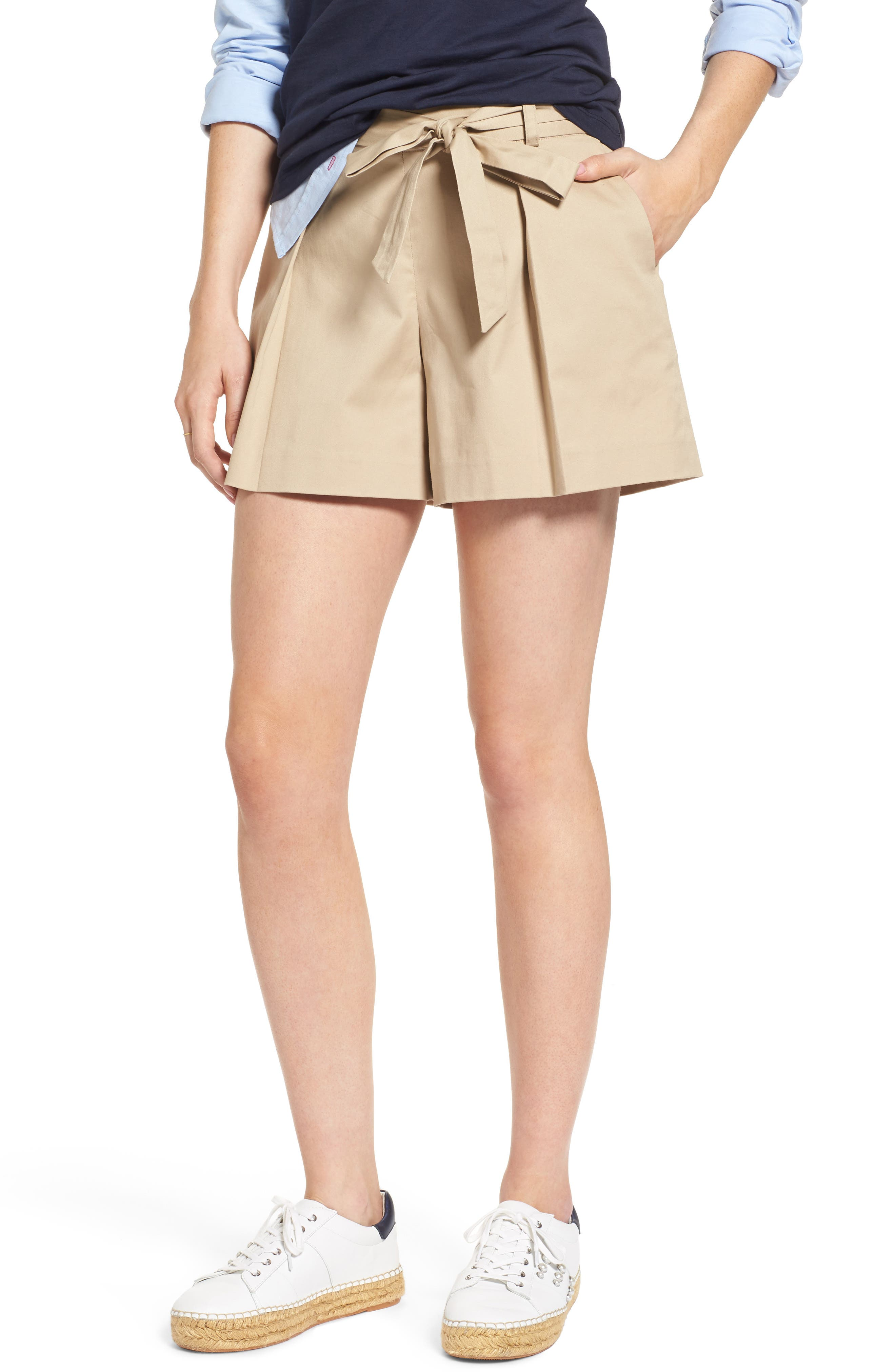 Pleated Twill Bow Front Shorts,                             Main thumbnail 1, color,                             235