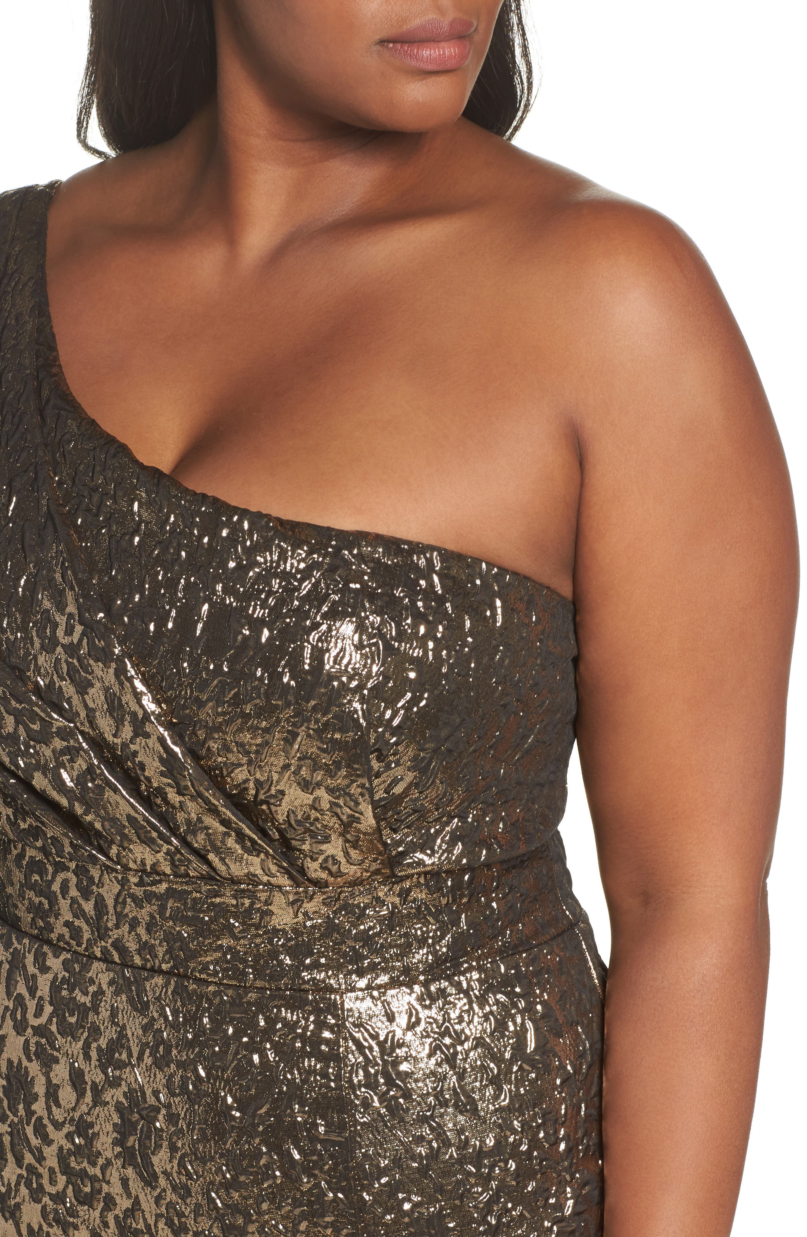 One-Shoulder Metallic Ballgown,                             Alternate thumbnail 4, color,                             ANTIQUE / GOLD