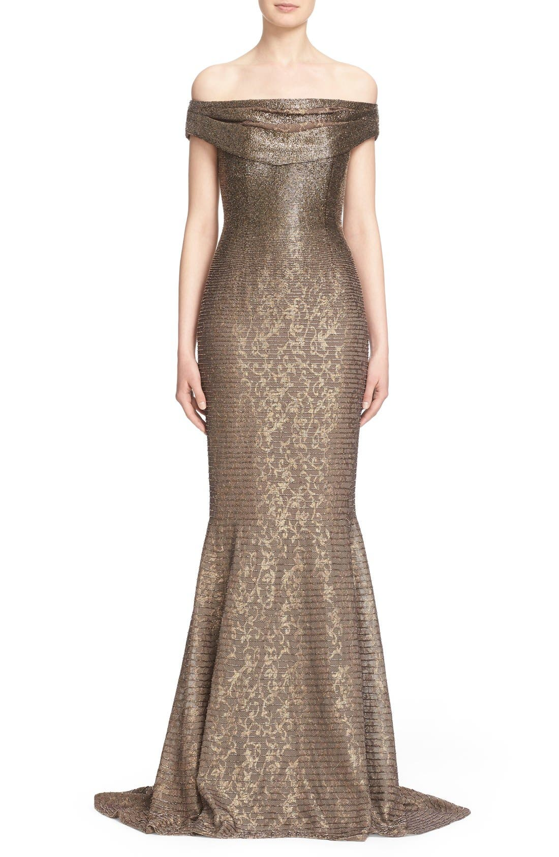 CARMEN MARC VALVO COUTURE,                             Beaded Off the Shoulder Lace Mermaid Gown,                             Main thumbnail 1, color,                             710